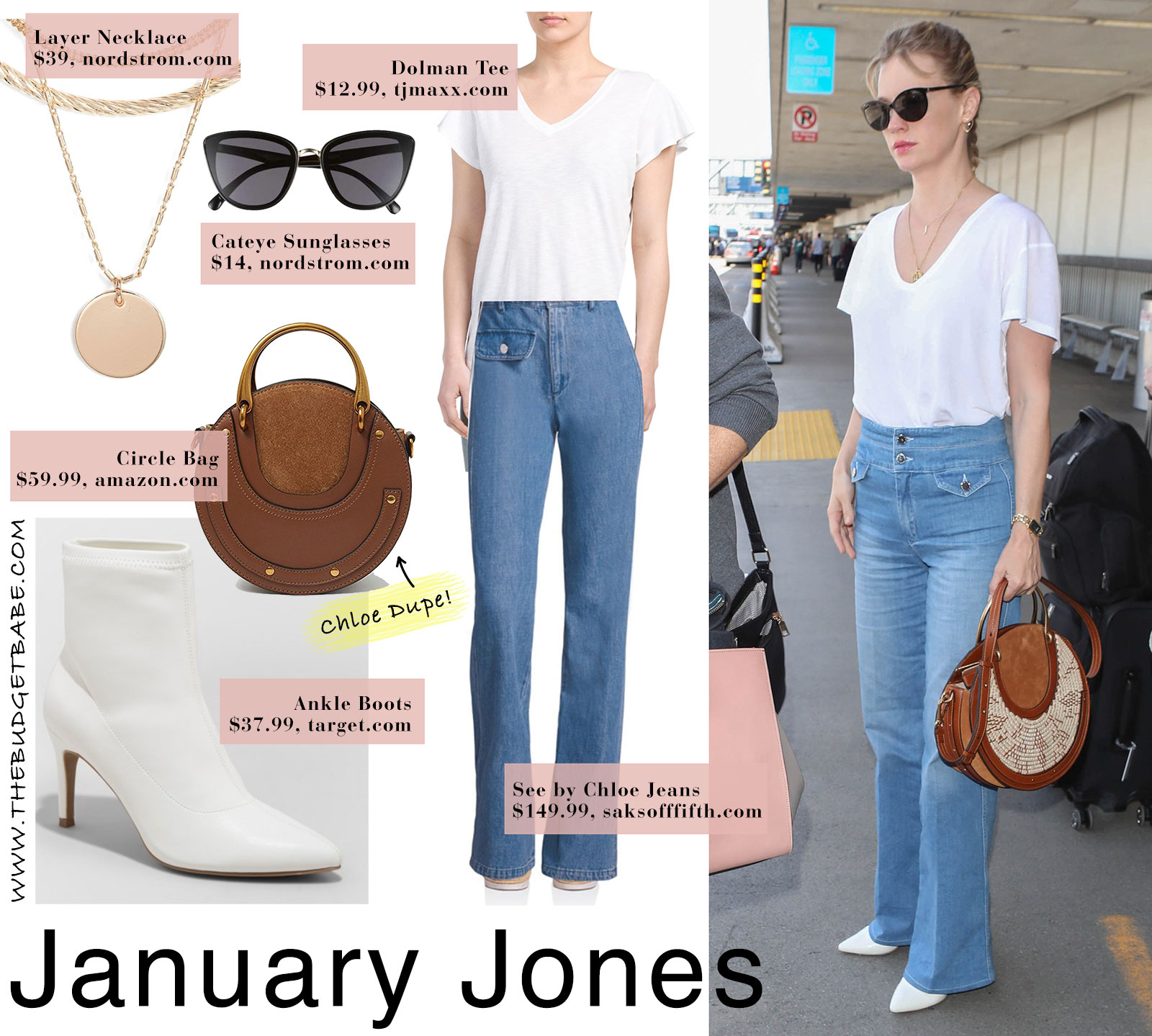 January Jones style featuring white tee, high waist button-fly jeans and white boots with Chloe bag