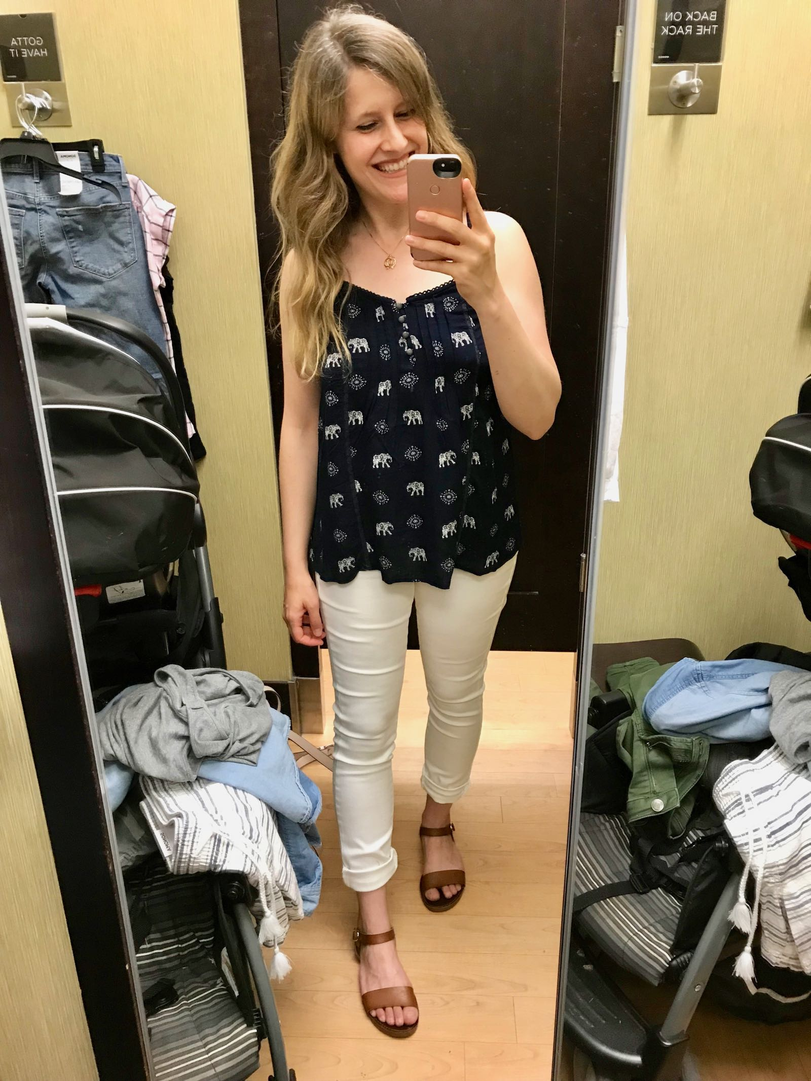 Kohl's summer higlights include this pretty pint top under $15 and white jeans under $20!