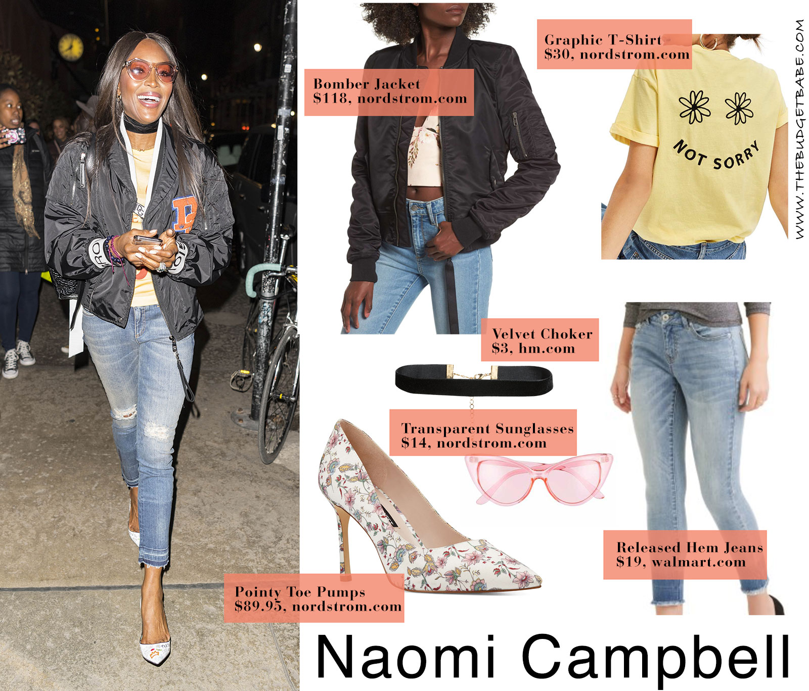 Naomi Campbell's Dolce & Gabbana bomber jacket and graffiti heels look for less