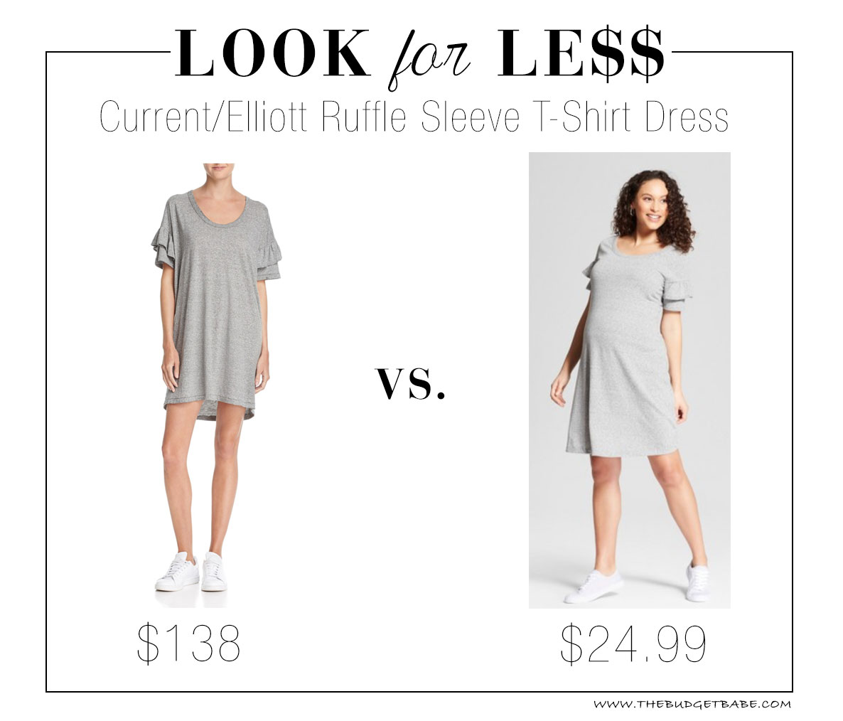 Look for Less: Current/Elliott Ruffle Sleeve T-Shirt Dress