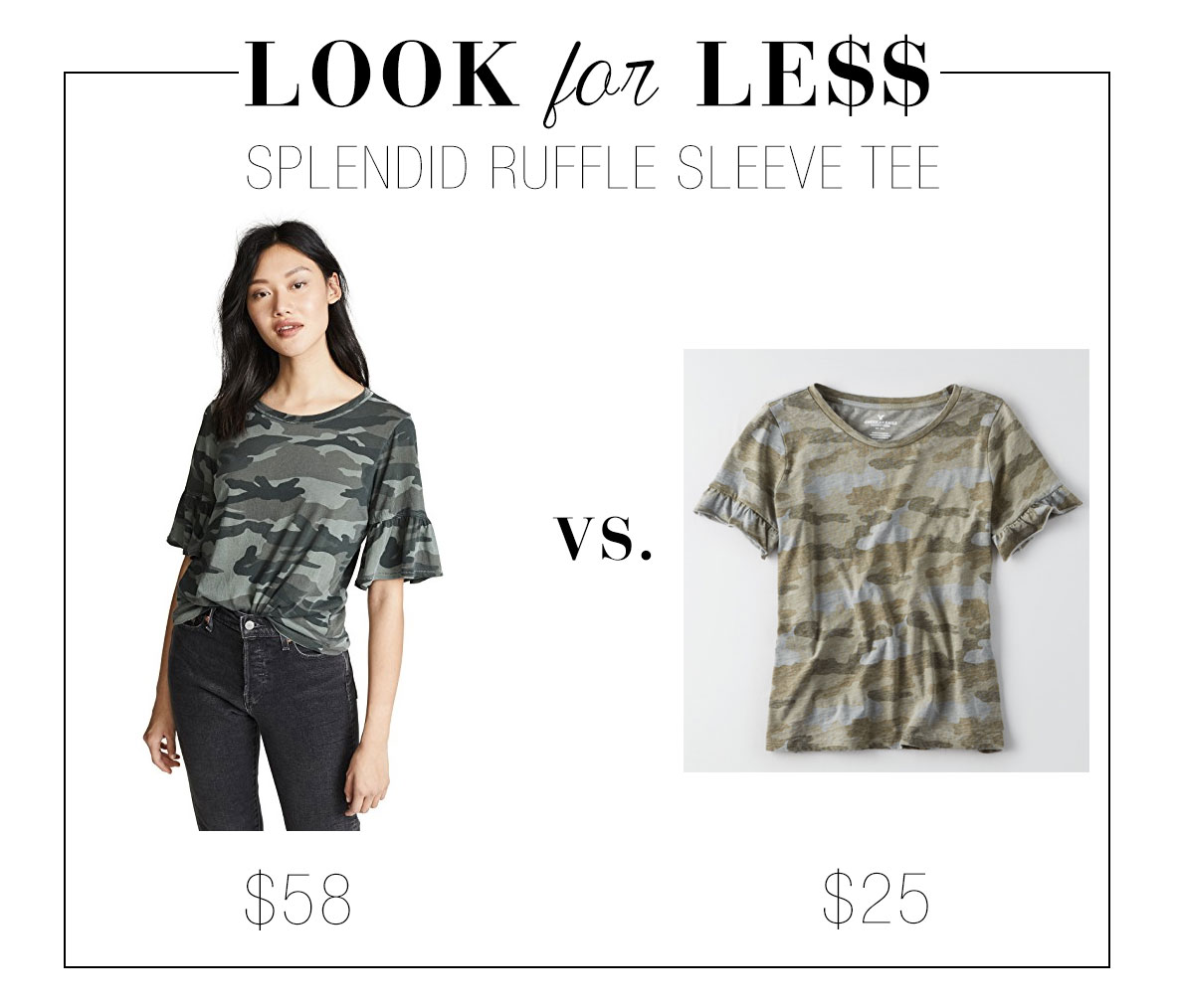 Splendid ruffle tee look for less