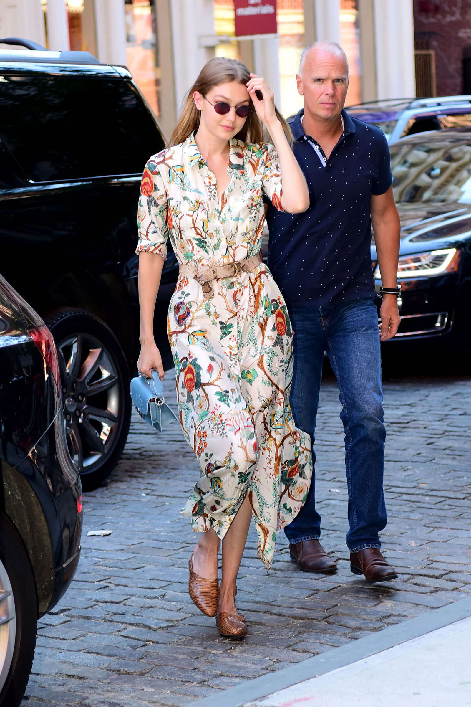 Gigi Hadid floral shirtdress and mules look for less