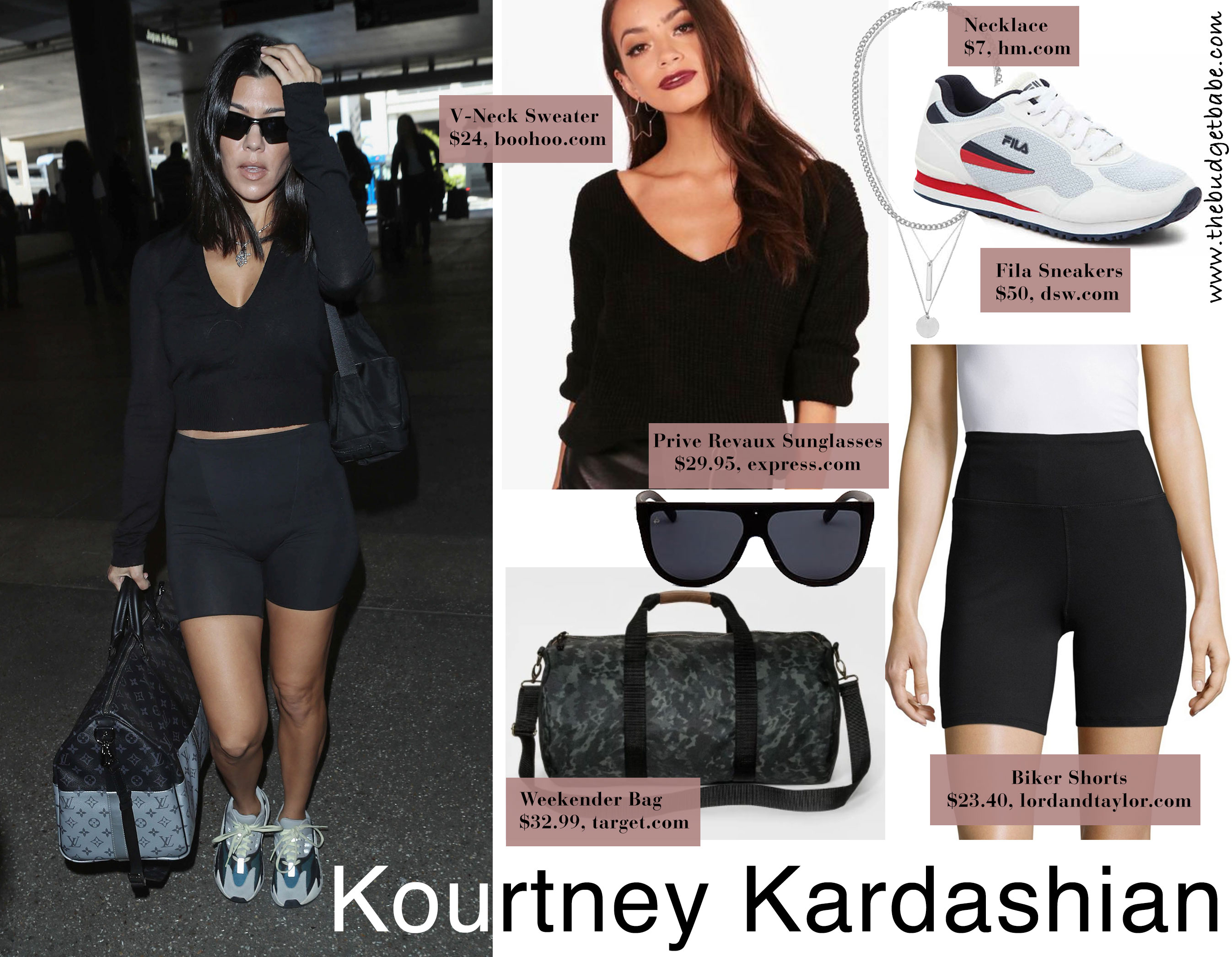 Kourtney Kardashian's biker shorts airport outfit style for less