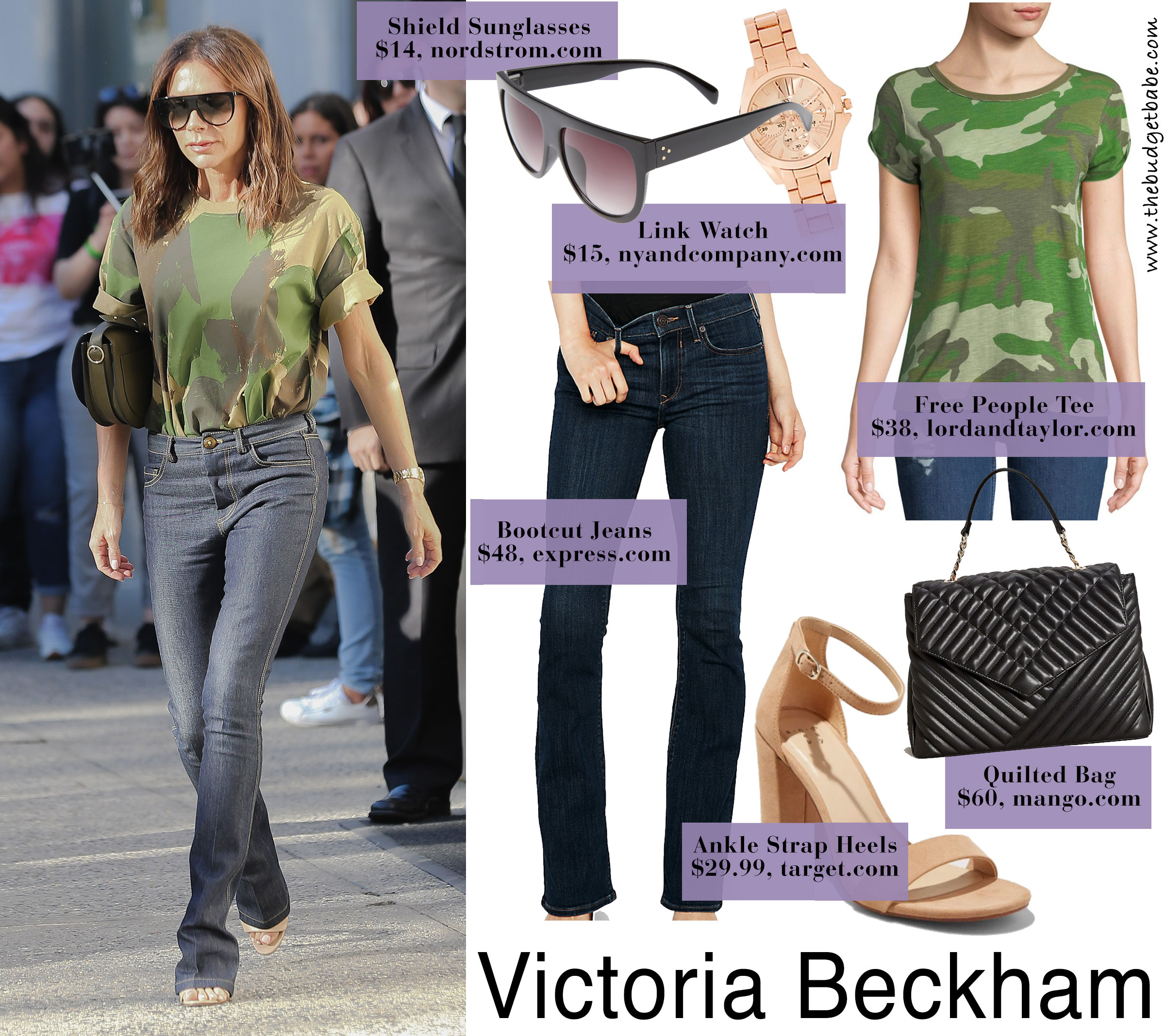 Victoria Beckham camo tee look for less