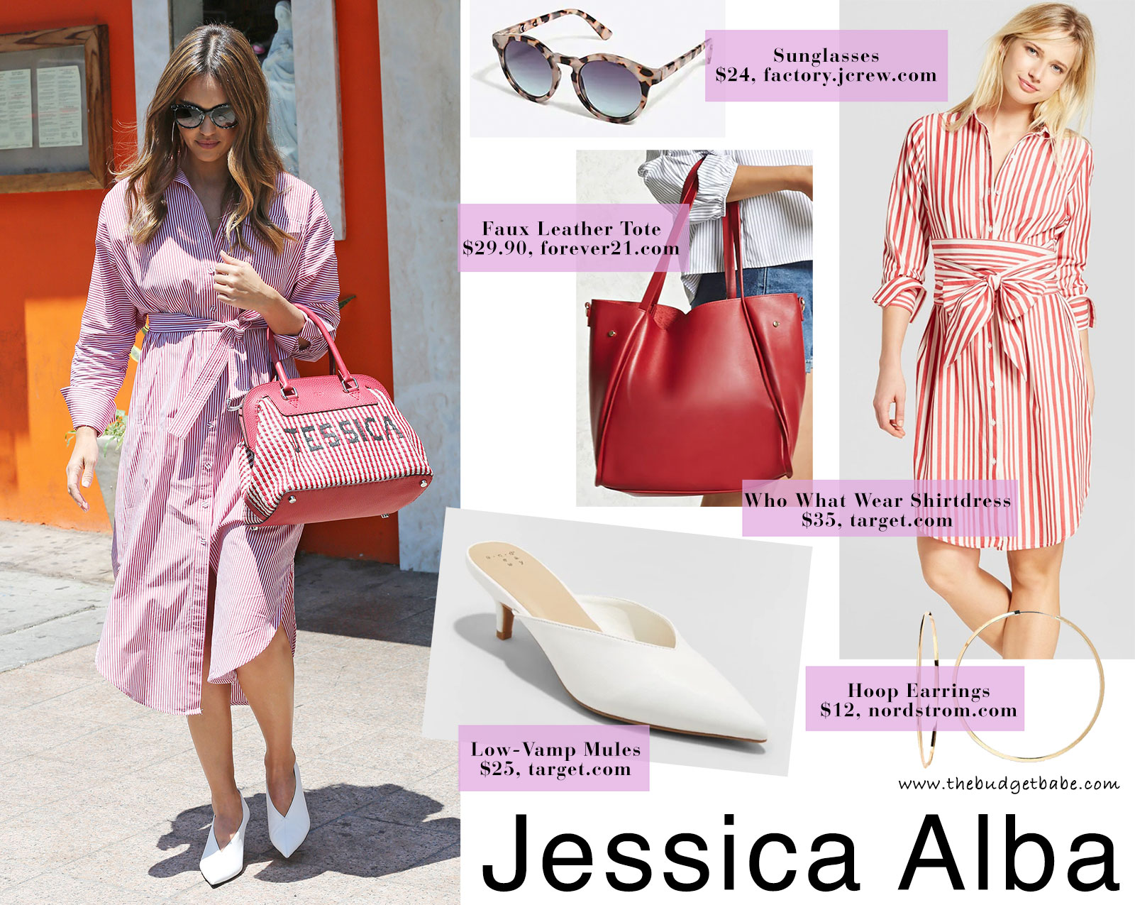 Jessica Alba's red pinstripe shirtdress and low vamp heels look for less