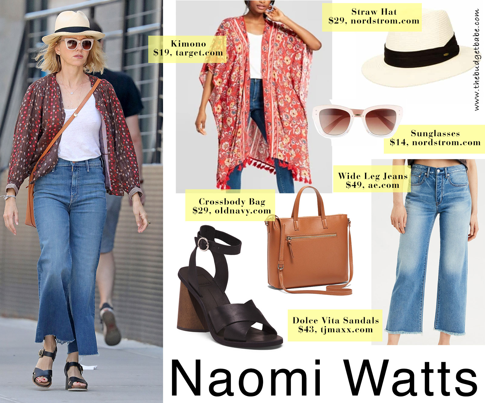 Naomi Watts' print jacket and wide leg pants look for less