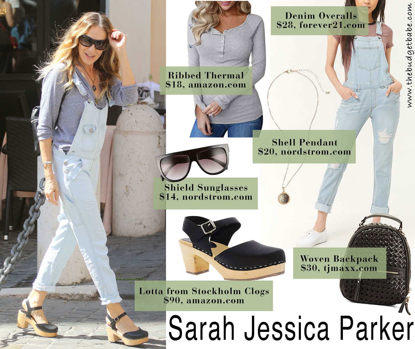 Sarah Jessica Parker looks so cute in denim overalls and Swedish Hasbeens
