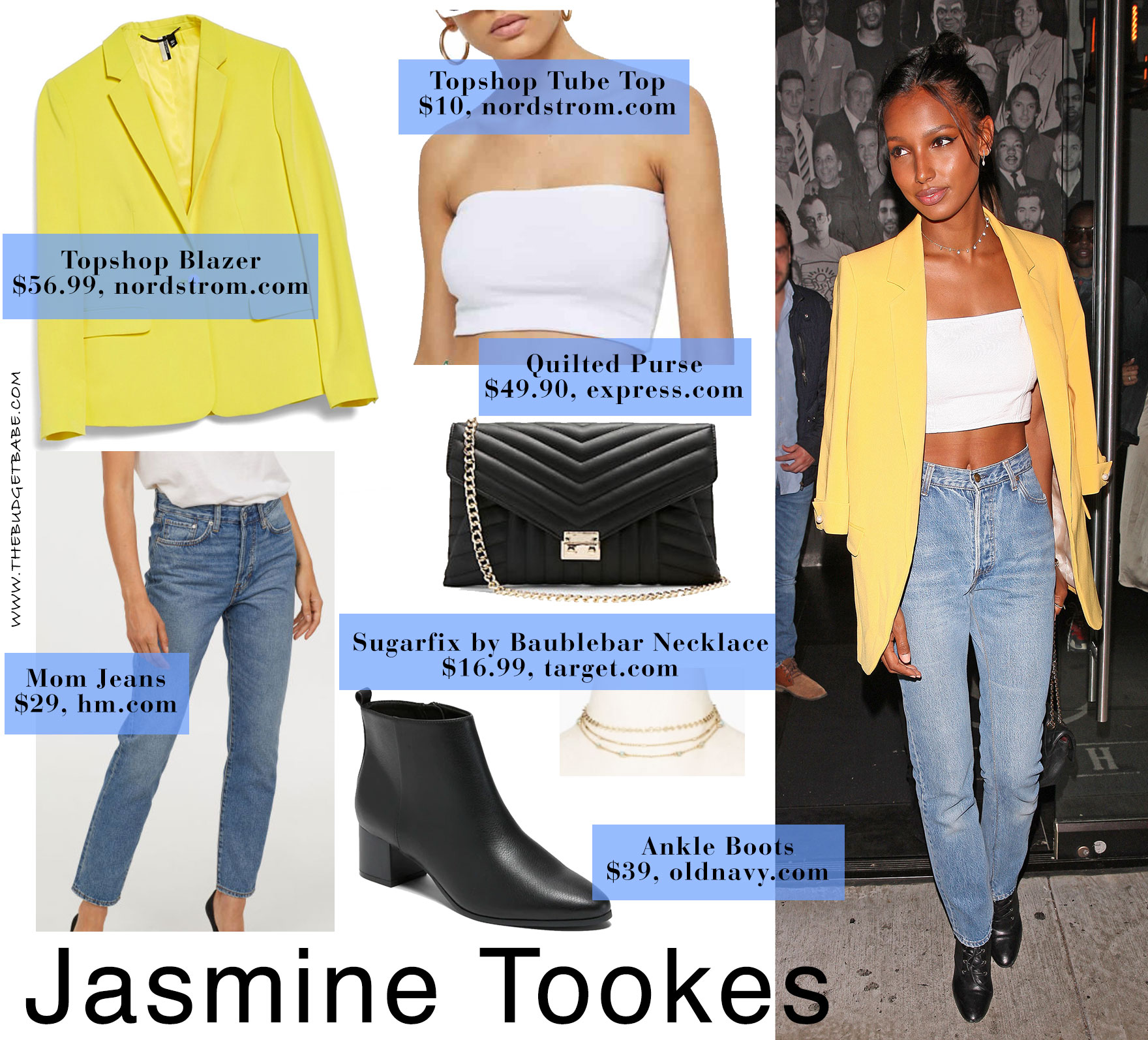 Jasmine Tookes wears a yellow blazer, white crop top and mom jeans