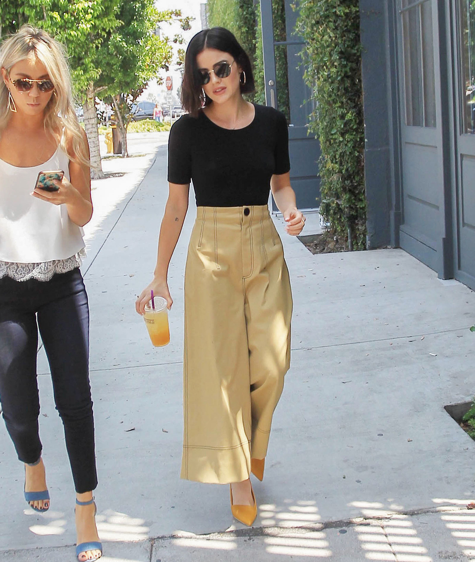 Lucy Hale look for less with wide leg crop pants from Target
