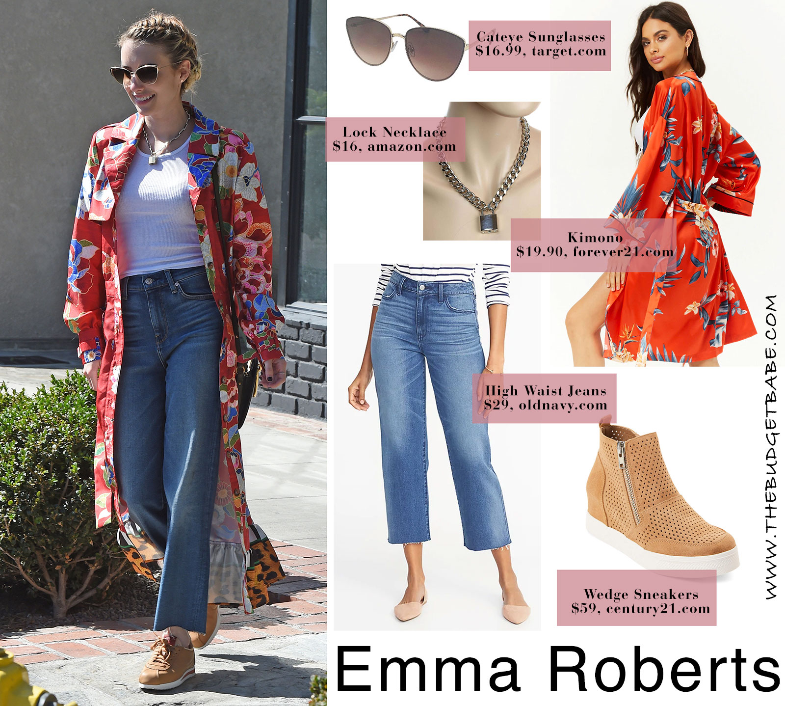 Emma Roberts' kimono and crop jeans look for less