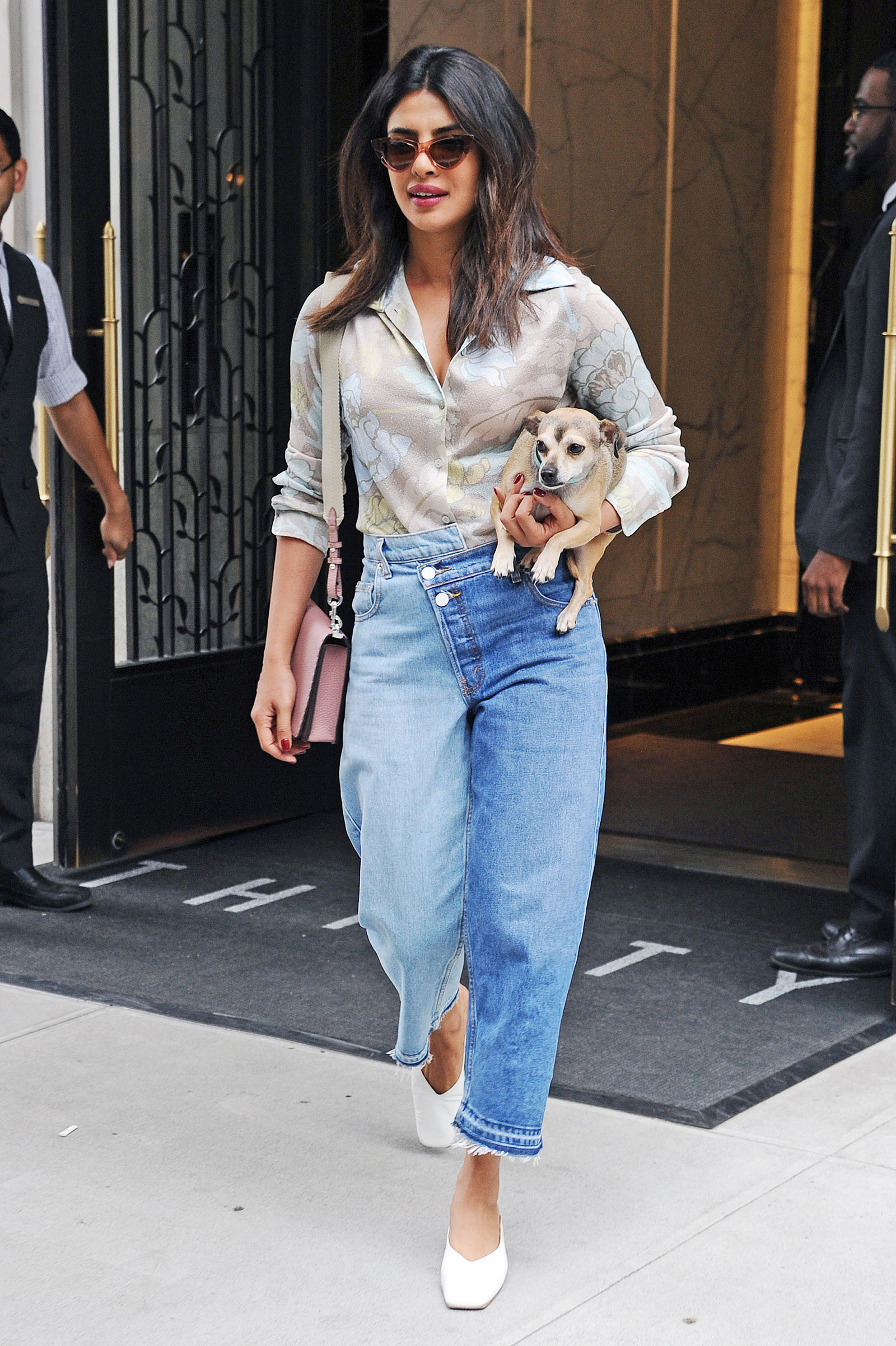 Priyanka Chopra's floral blouse and Monse split wash jeans look for less