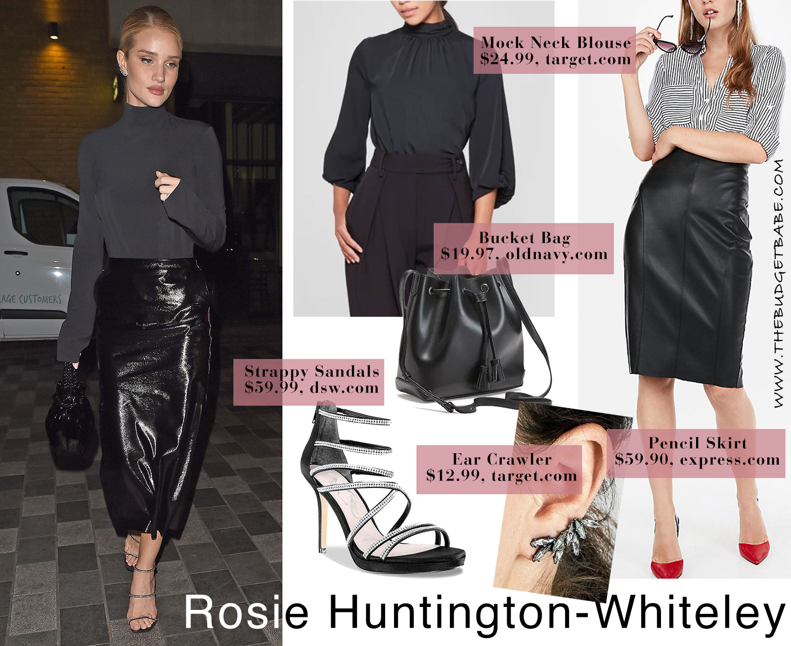 Rosie Huntington-Whiteley's black pencil skirt and bucket bag look for less