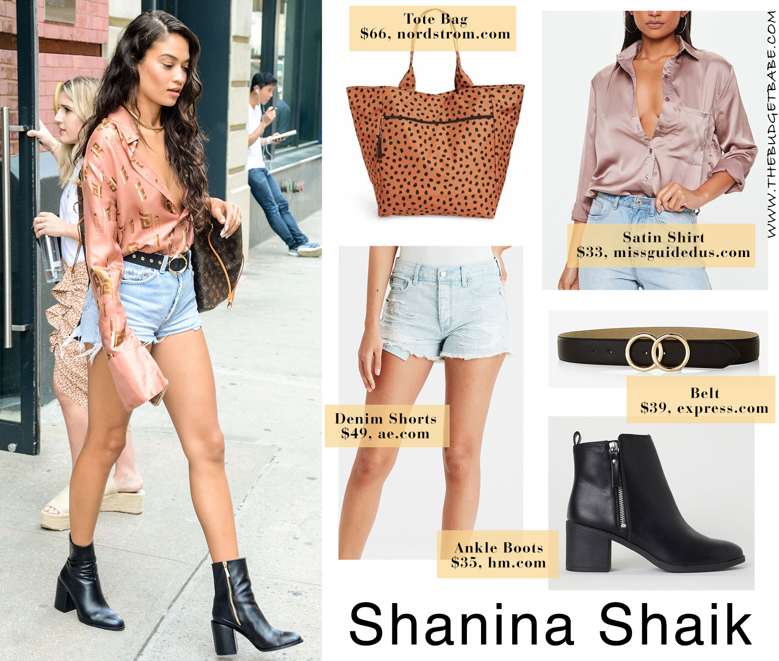 Shanina Shaik's satin blouse and ankle boots look for less