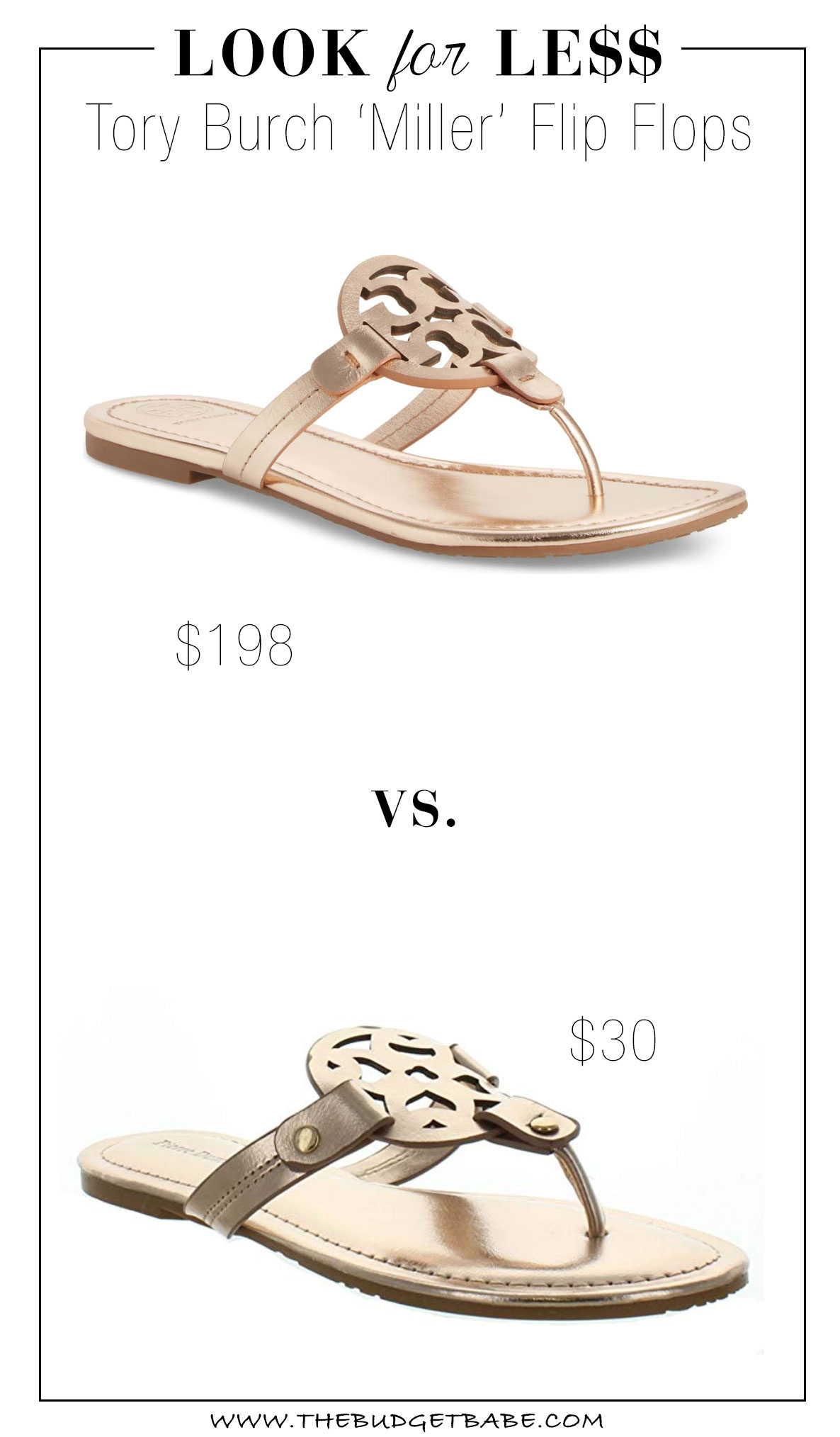 Tory Burch flip flop knockoffs on Amazon