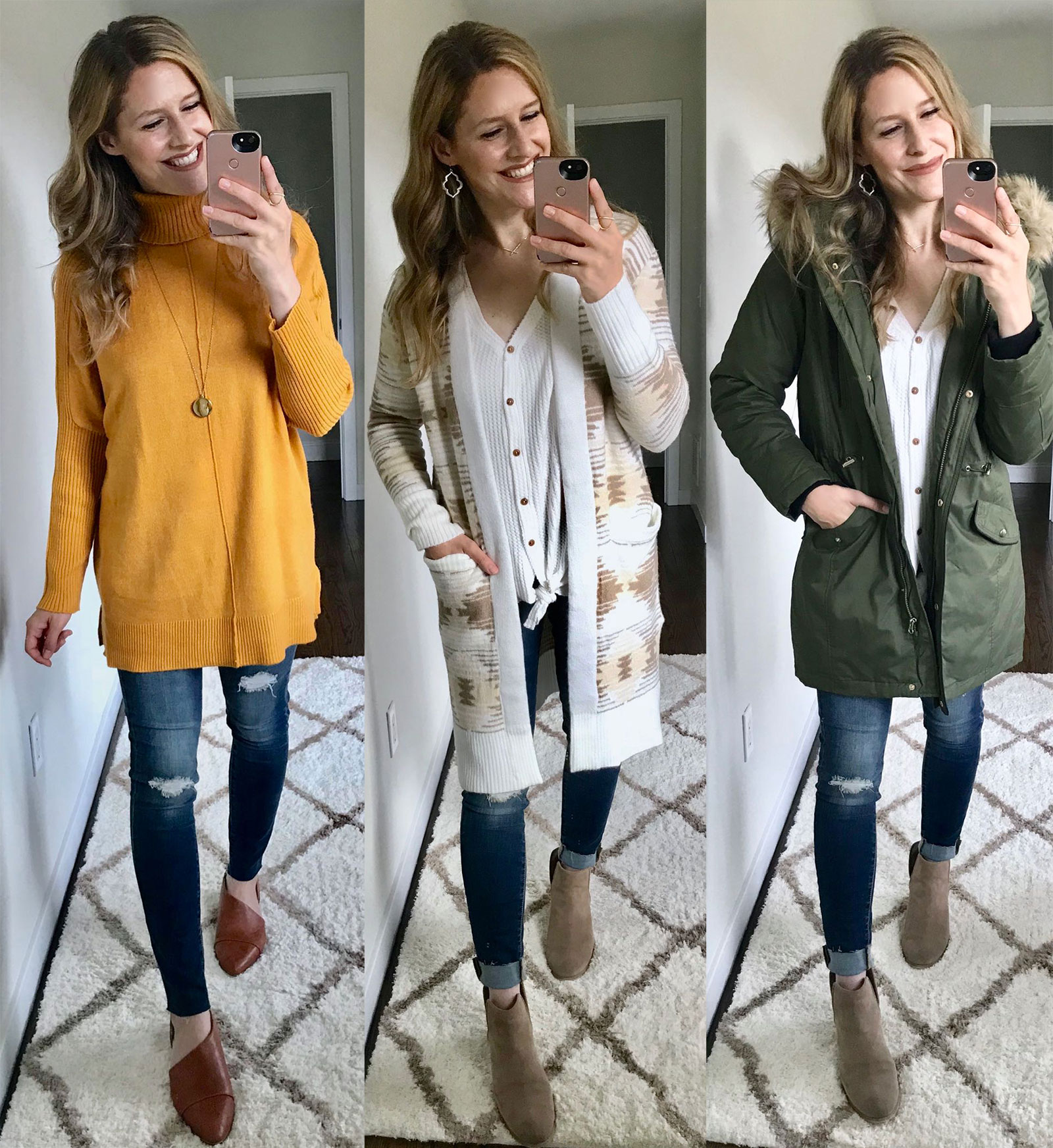 Sweater, cardigan and parka from Walmart -wow!