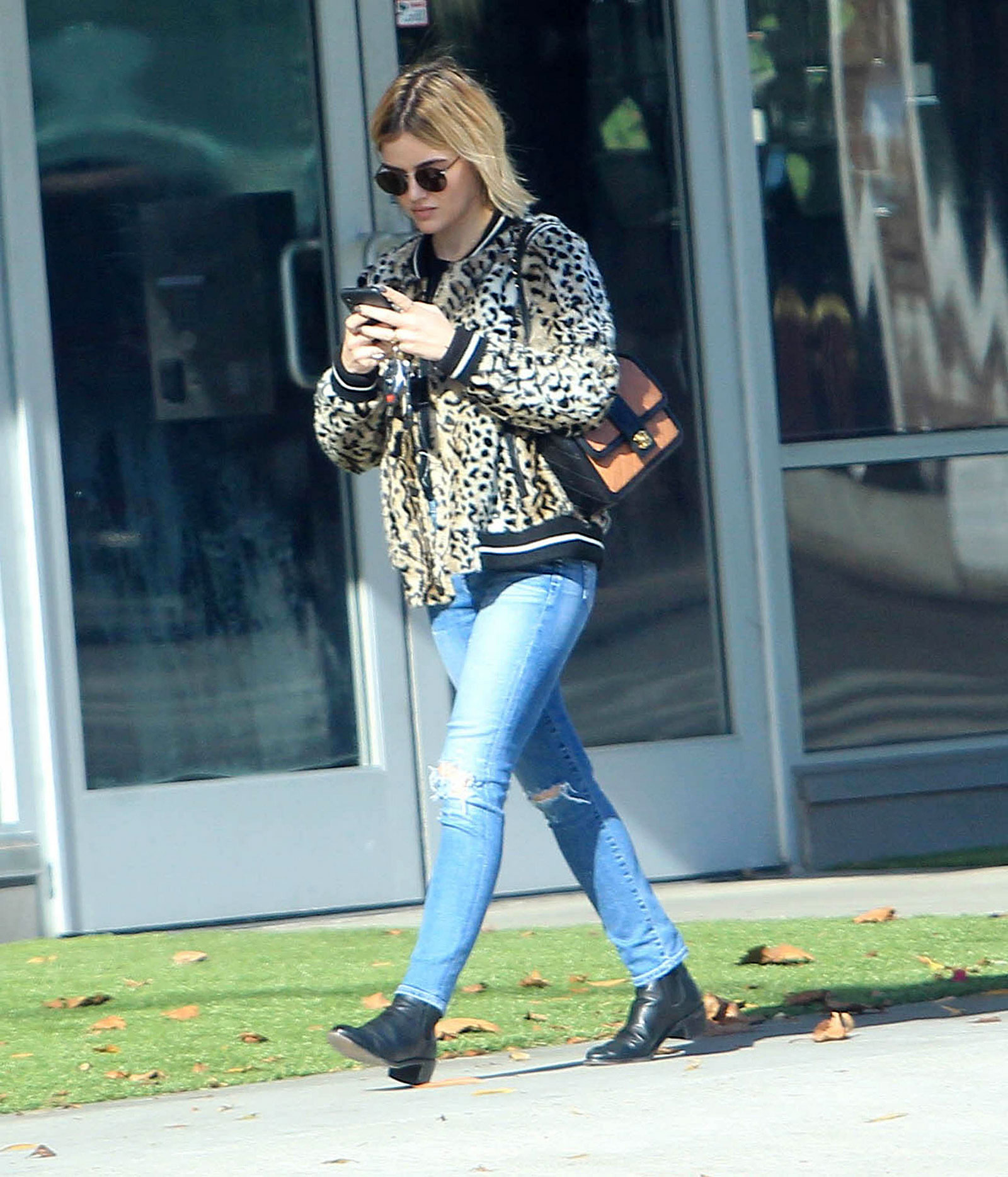 77dfd67710b Lucy Hale s Leopard Bomber Jacket Look for Less - The Budget Babe ...