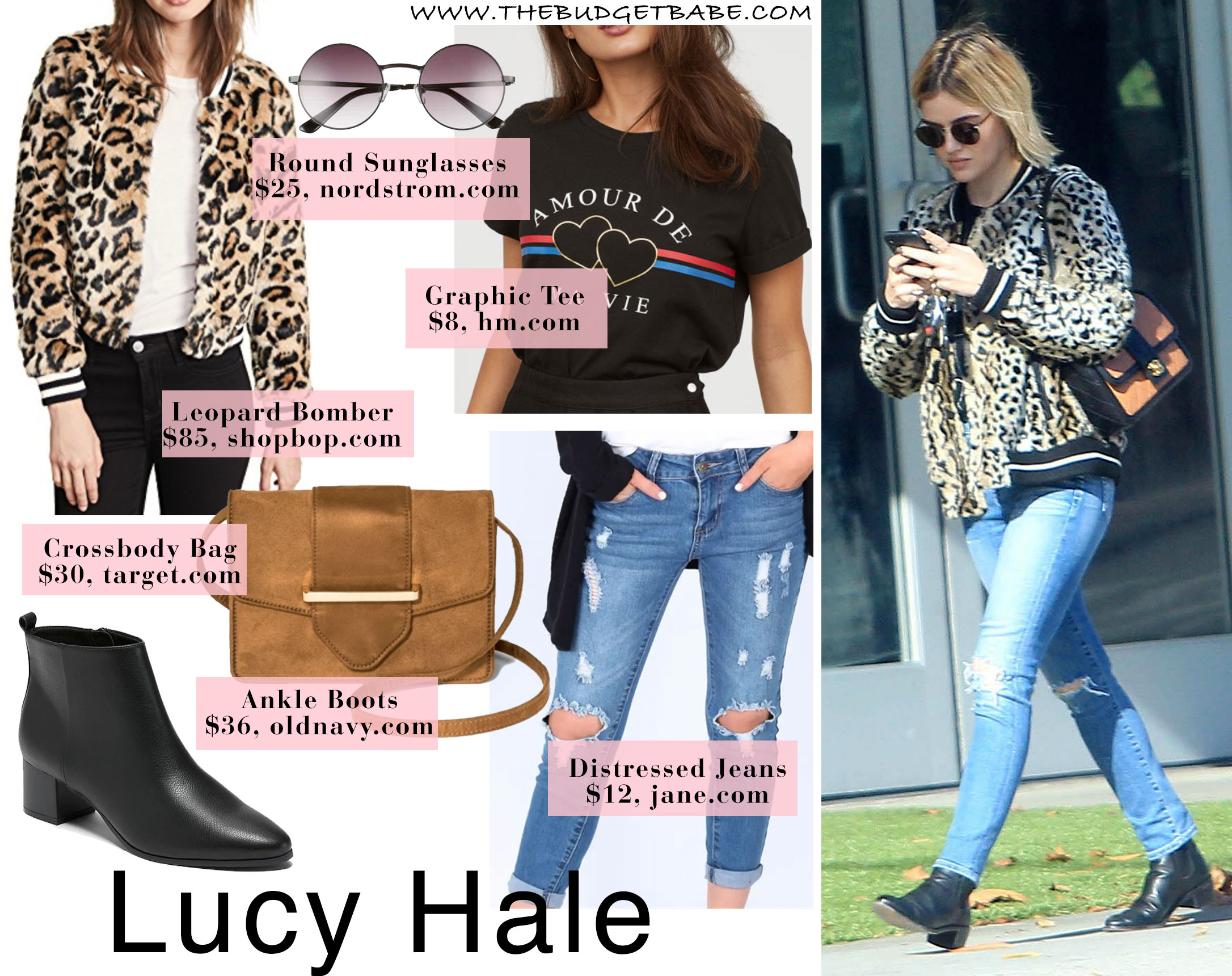 Lucy Hale rocks a bomber in a leopard print.