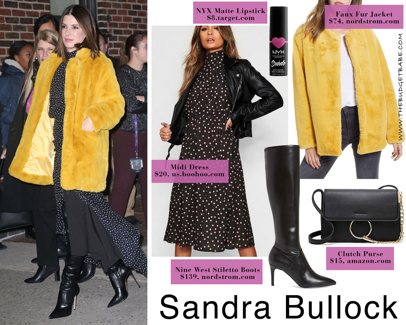 1b0b8457d7c Sandra Bullock s Yellow Fur Coat