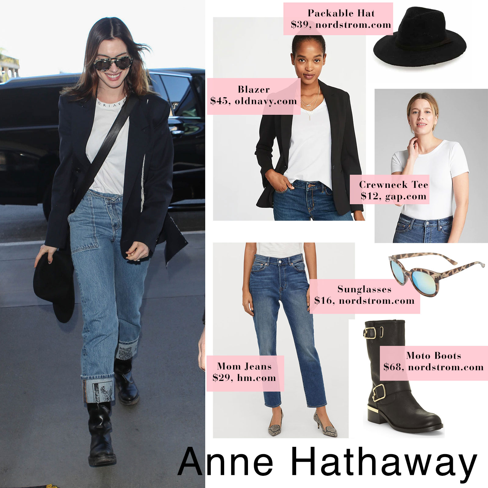 Anne Hathaway's classic airport style