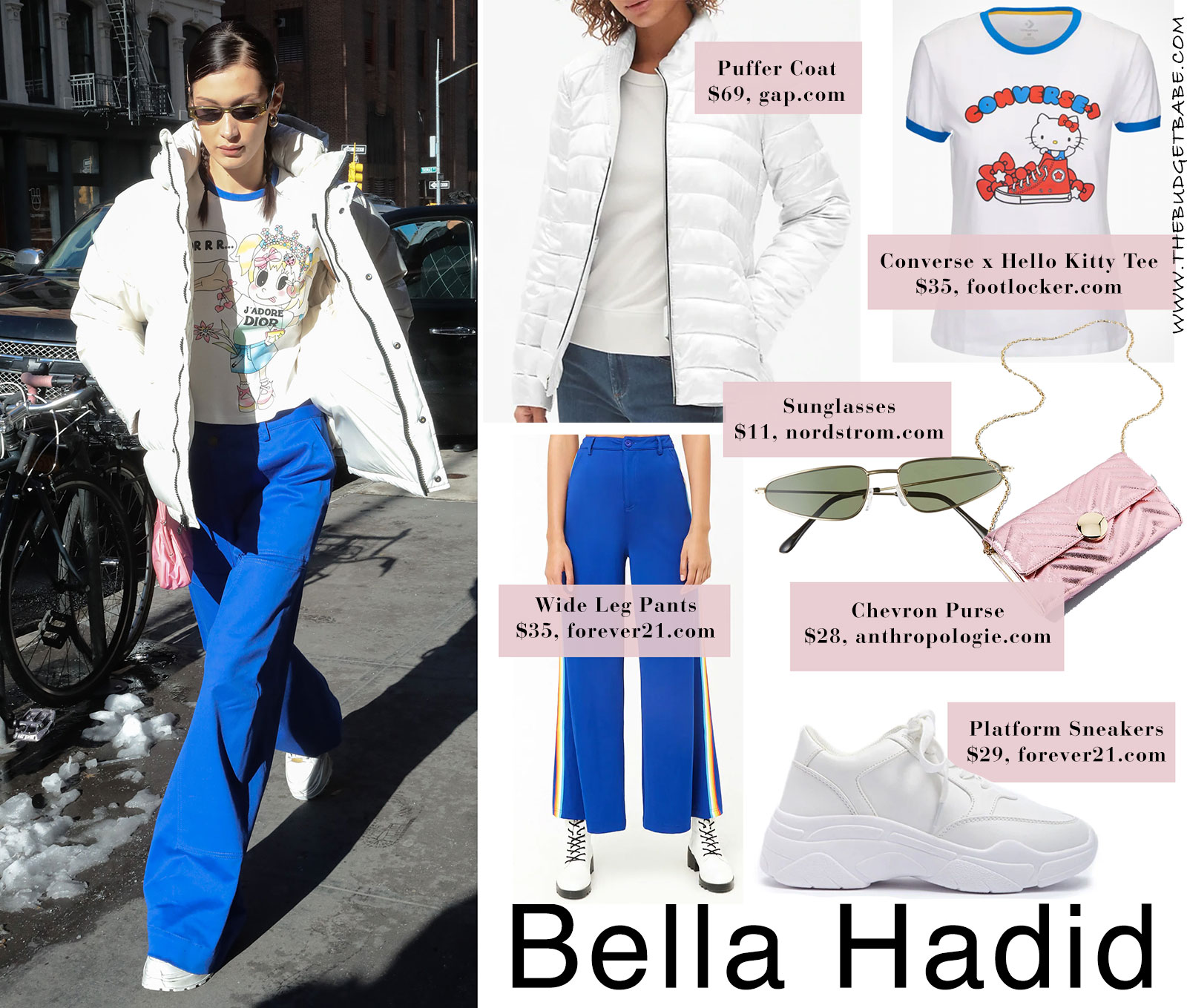 Bella Hadid's white puffer coat, blue pants and platform sneakers look for less