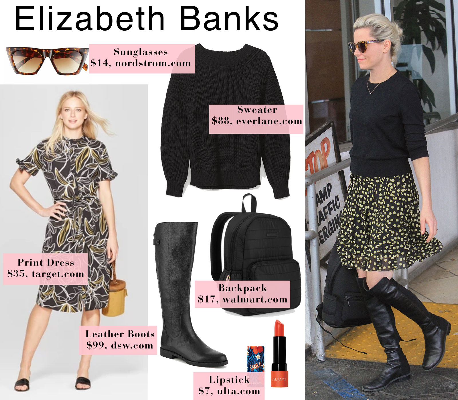 Elizabeth Banks outfit idea - layer a sweater over a spring dress