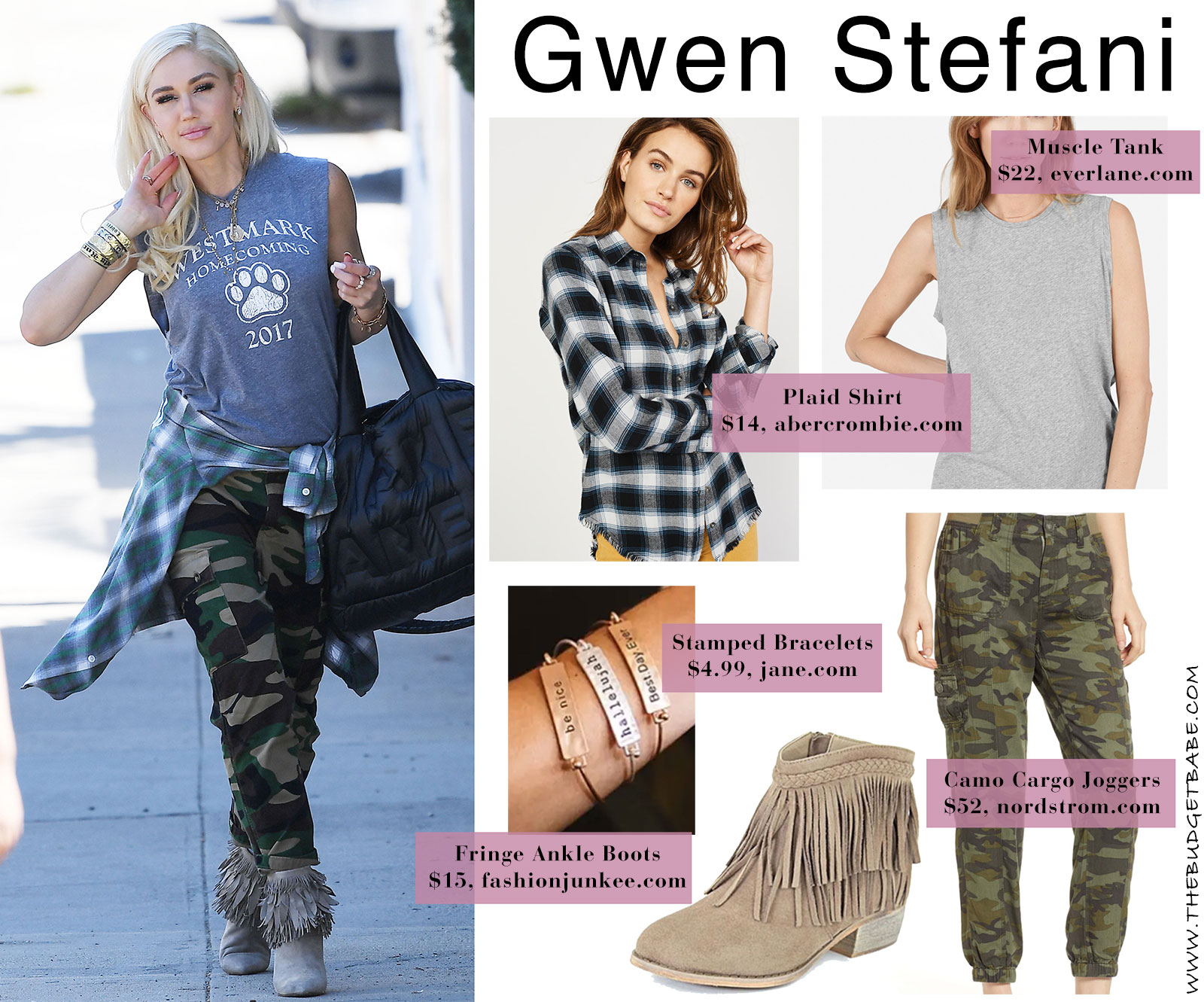 Gwen Stefani camo cargo pants look for less