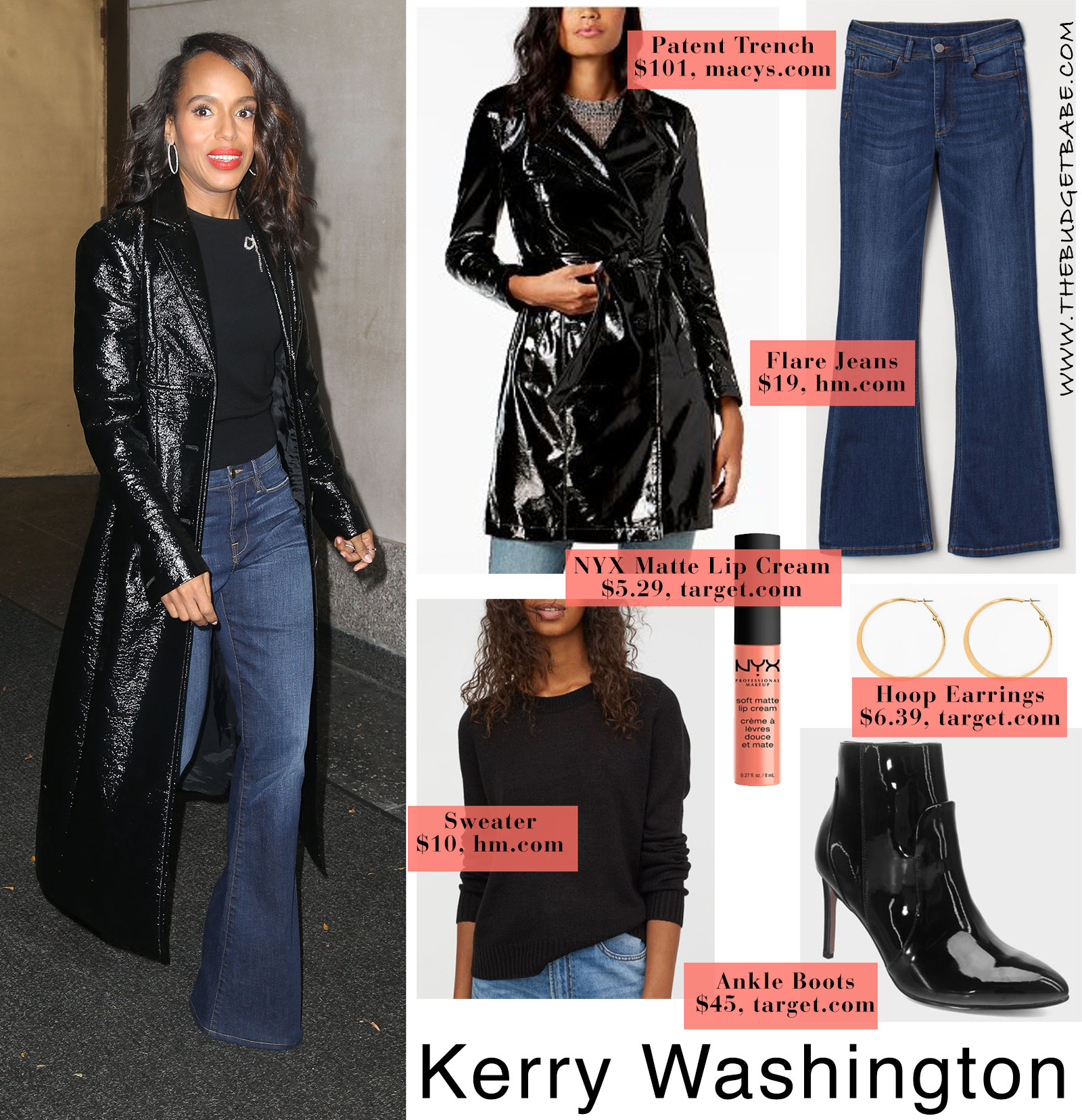 Kerry Washington patent leather trench coat look for less