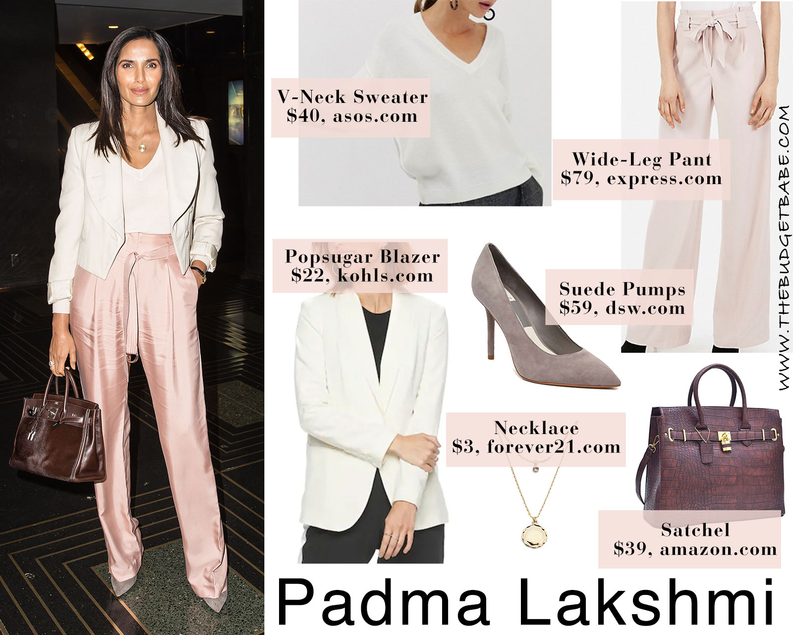 Padma Lakshmi in pink pants, white blazer, gray pumps