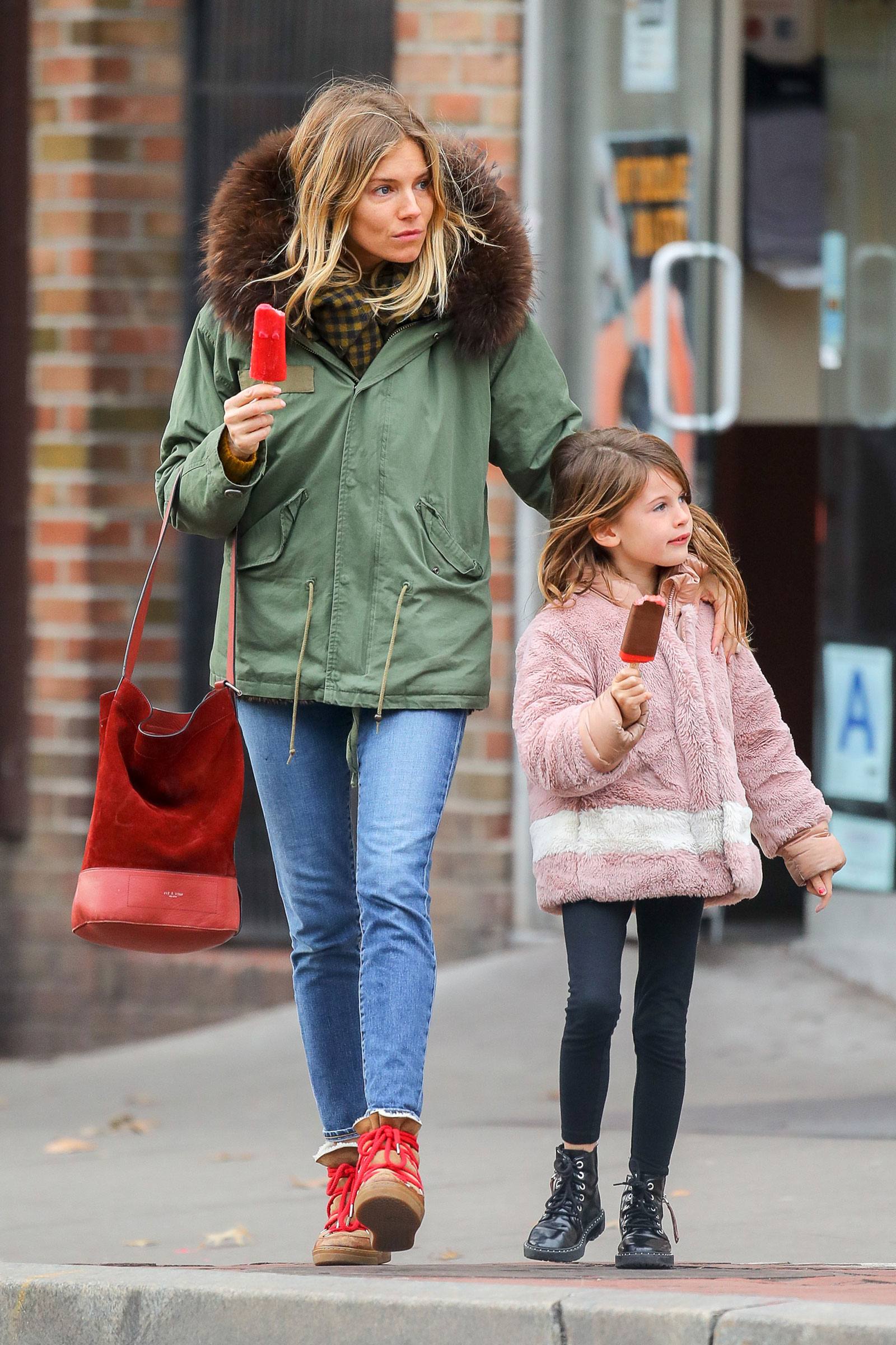 Sienna Miller's parka and Isabel Marant boots