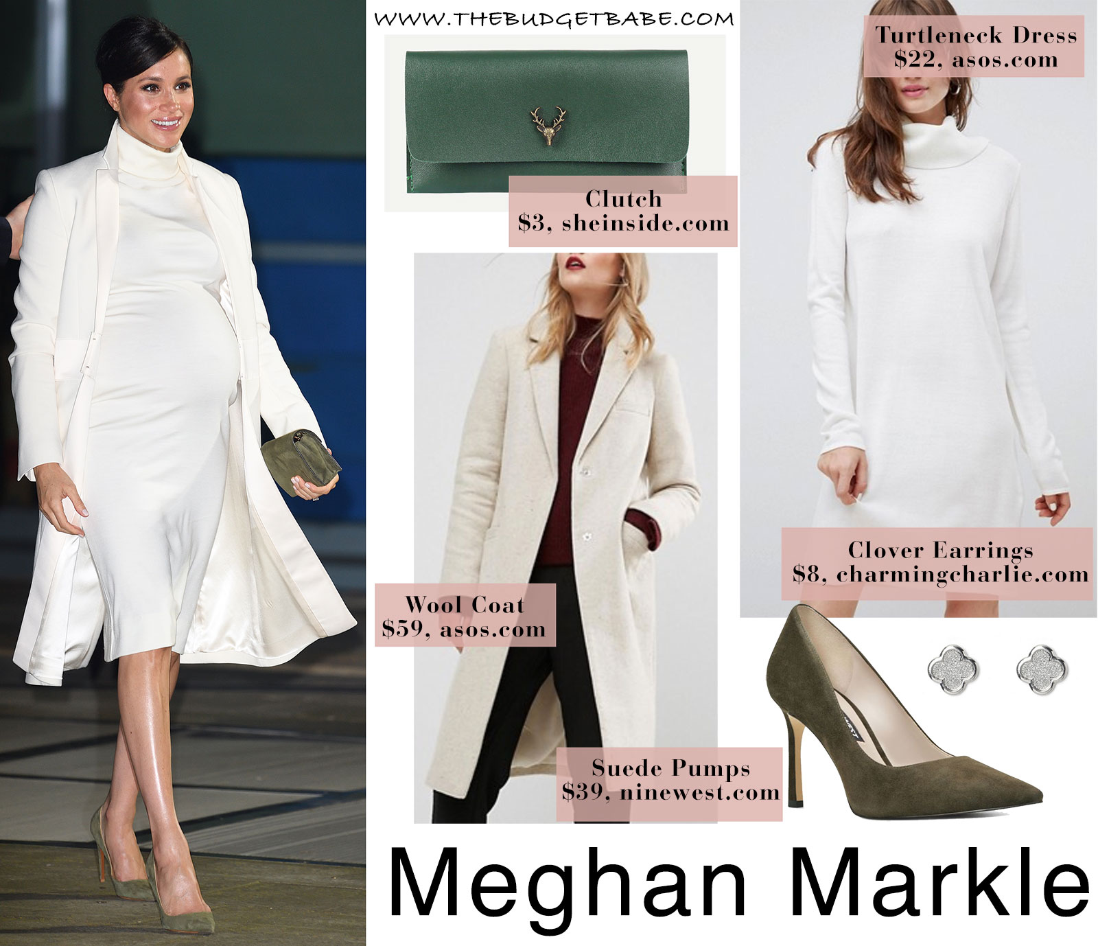 Meghan Markle's white turtleneck dress and matching coat
