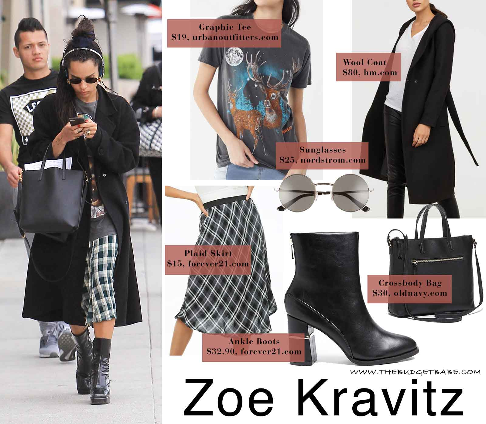Zoe Kravitz in a plaid skirt and platform ankle boots