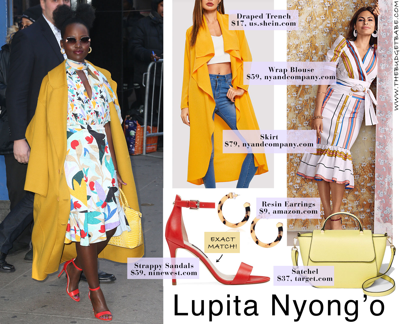 Lupita Nyong'o in floral dress, yellow coat and red strappy heels by Nine West