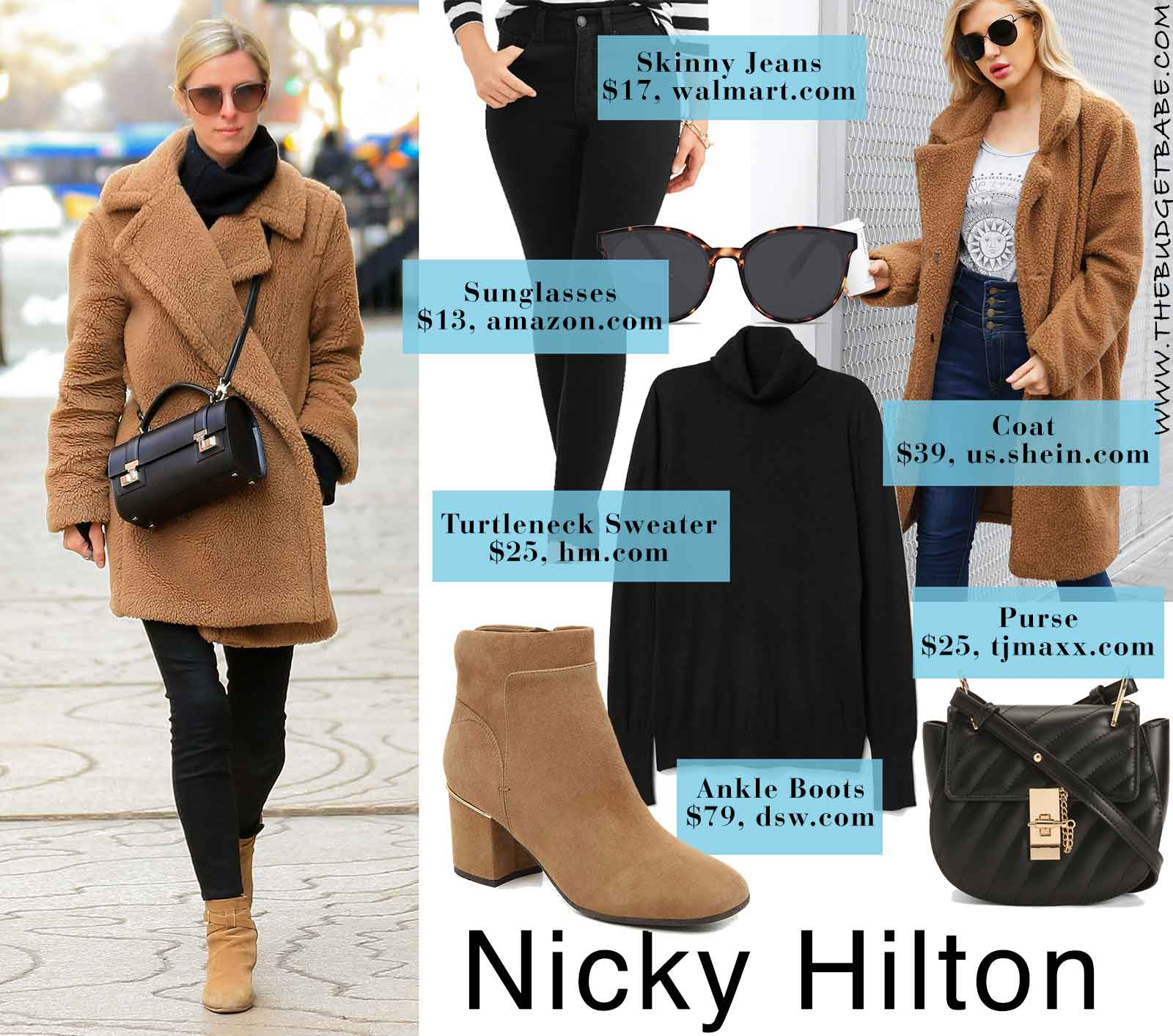 Nicky Hilton's teddy coat and ankle boots look for less