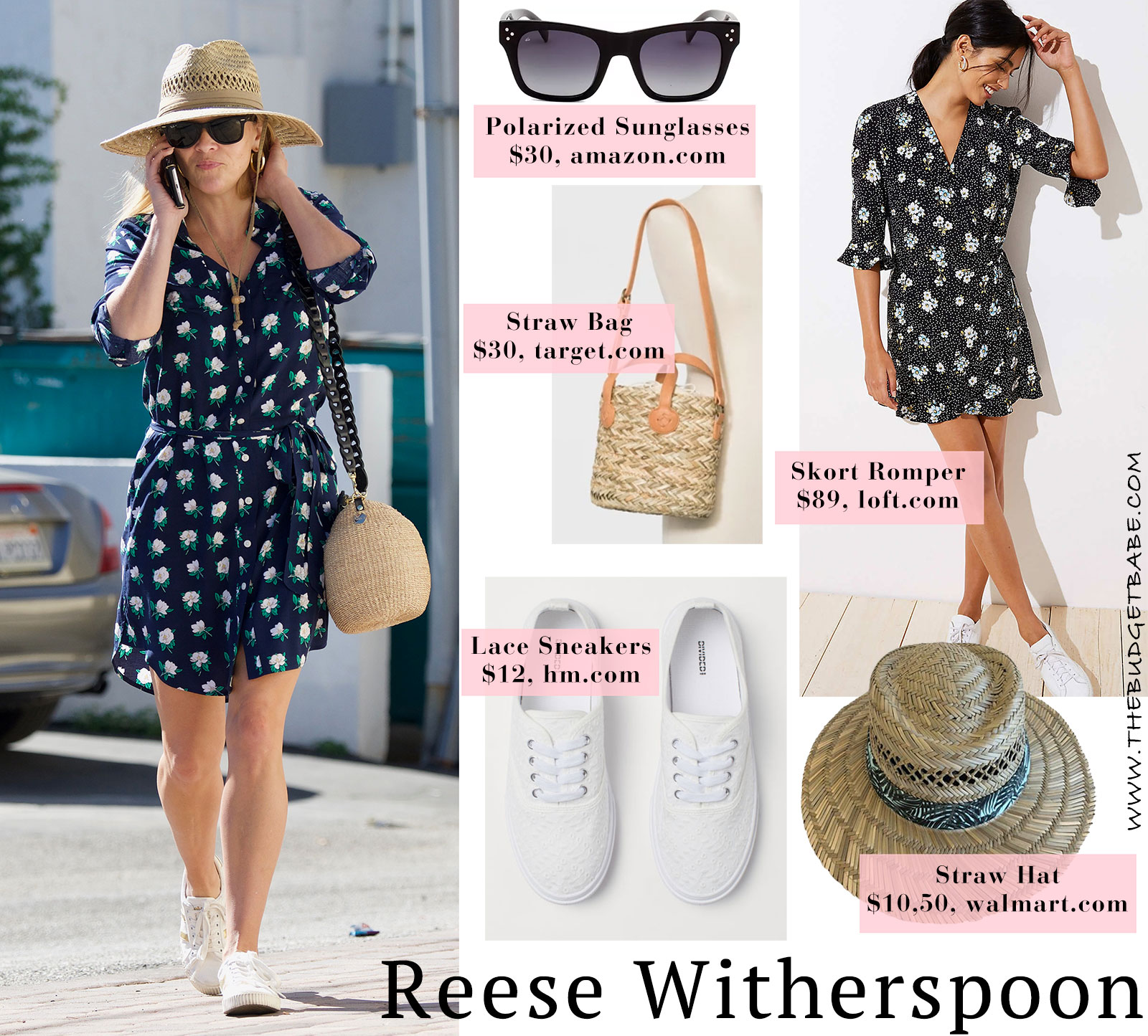 81dec2181a Steal Her Style  Reese Witherspoon s floral dress and white sneakers outfit  for summer