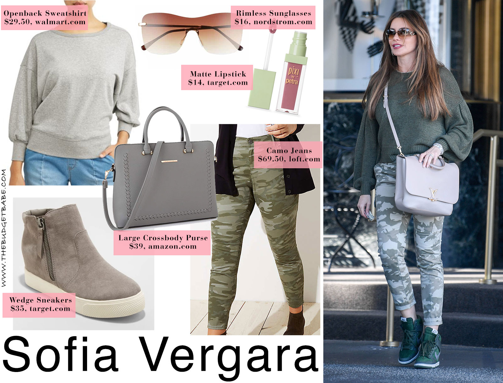 5ca70469f745 Sofia Vergara's dolman sleeve sweater, camo jeans and wedge sneakers look  for less
