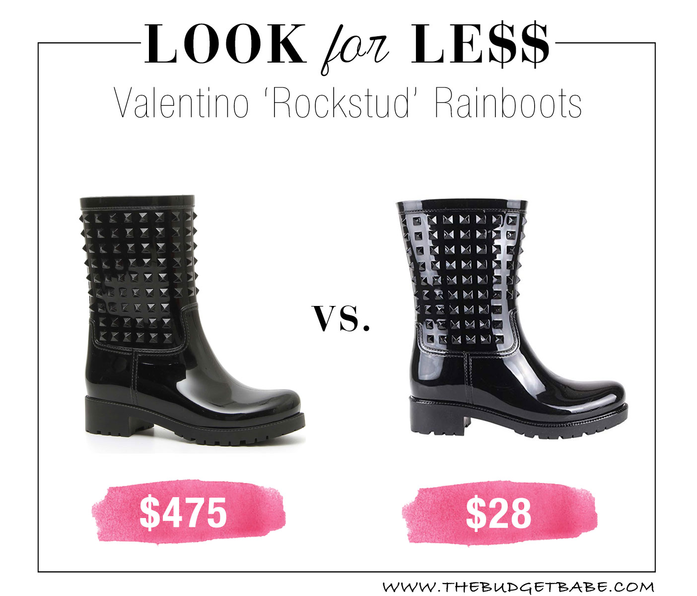 Valentino Rockstud rainboots look for less!