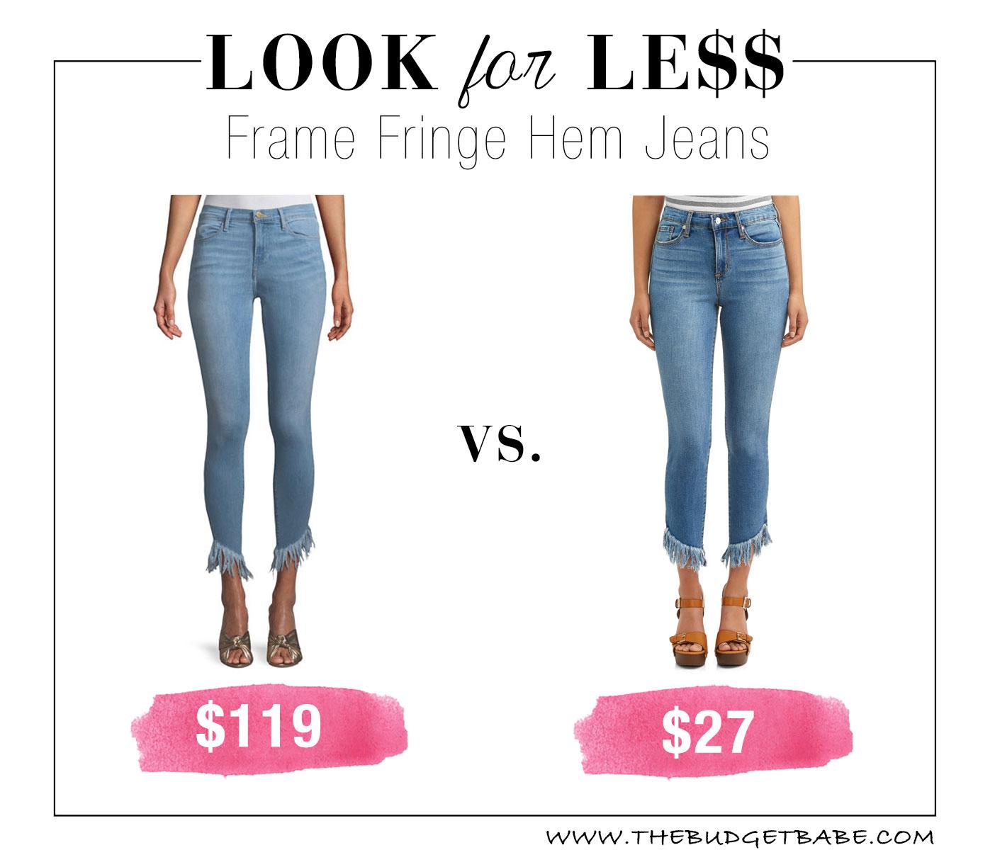 18aa108af8379a Frame Fringe Hem Jeans Lookalike at Walmart