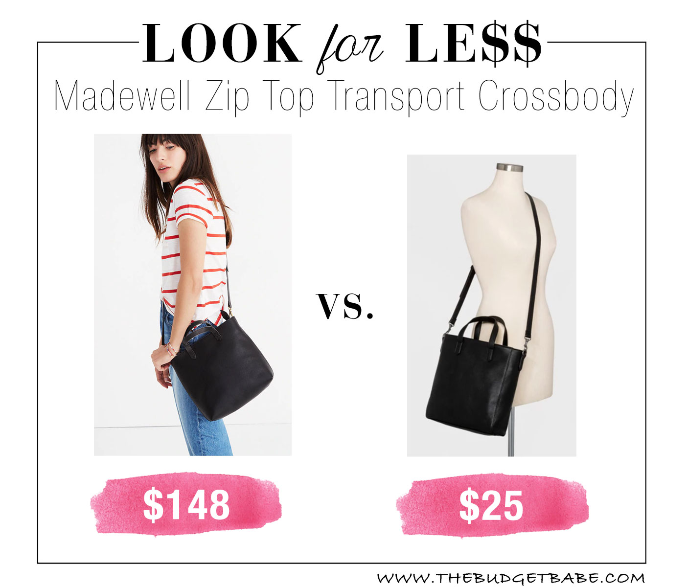 b2099d33c64396 Look for Less: Madewell Zip Top Transport Crossbody - The Budget ...