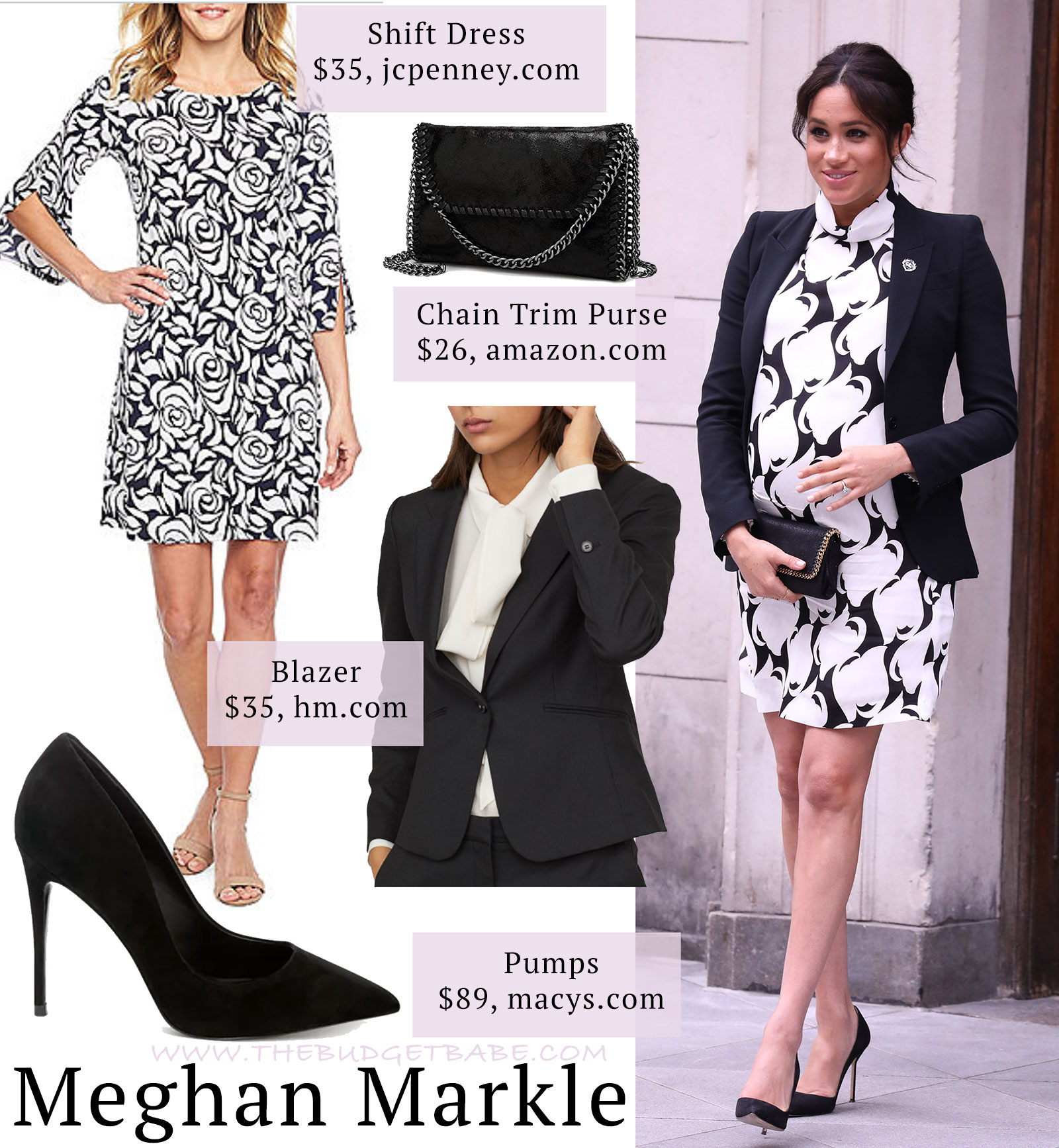 0bbf3f79217 Meghan Markle black and white print dress by Reiss