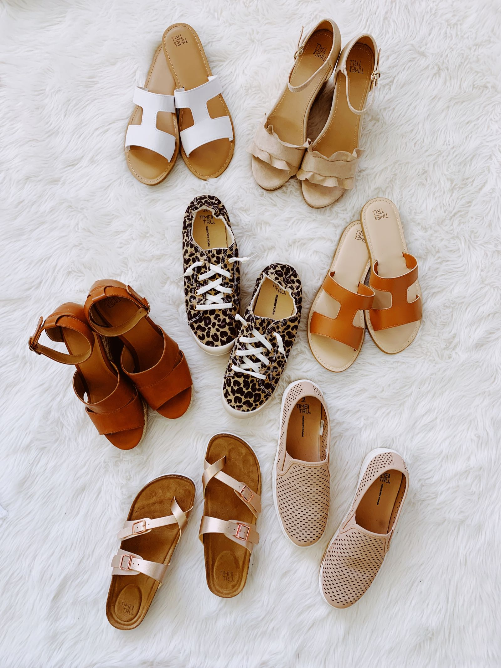 Spring and summer shoe capsule wardrobe, each pair is under $20 at Walmart!