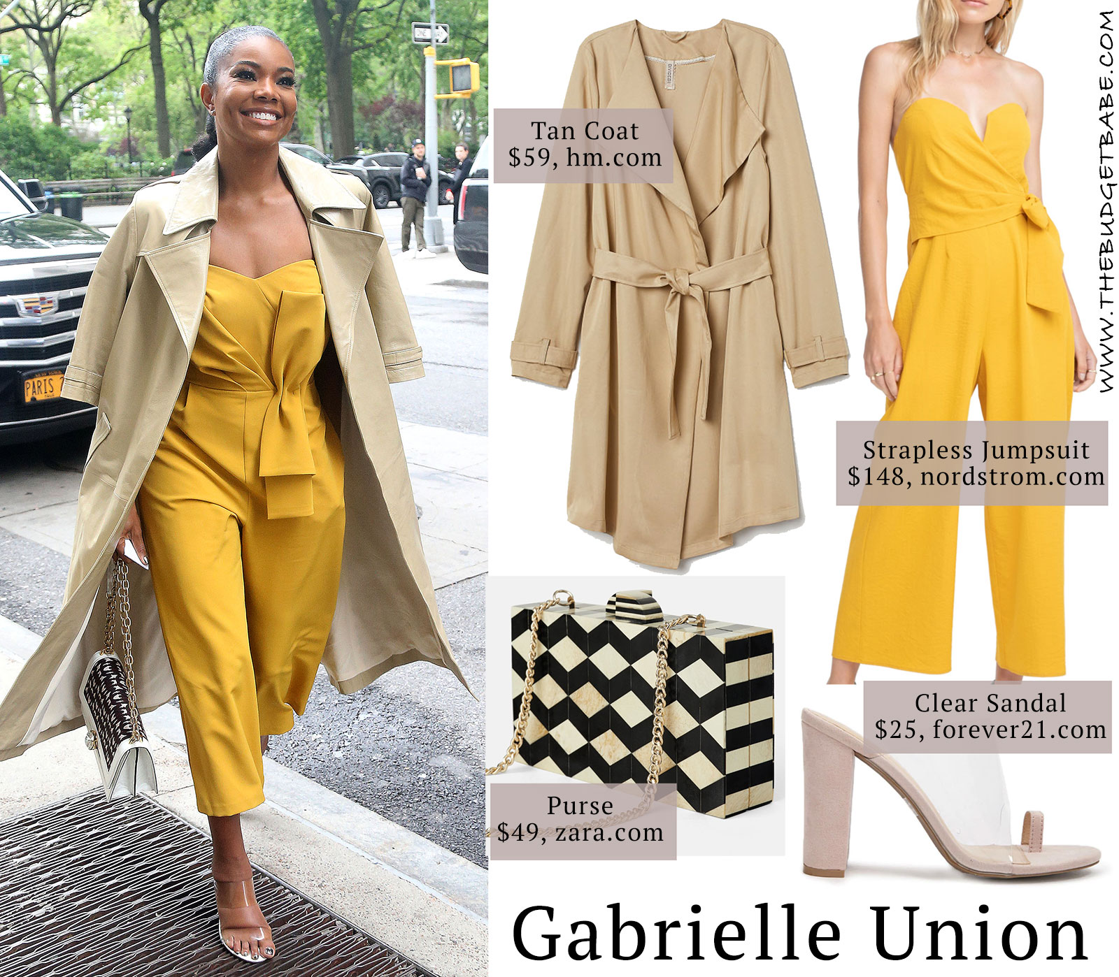 new style 45dfa b2b88 Gabrielle Union s yellow jumpsuit and clear sandals look for less
