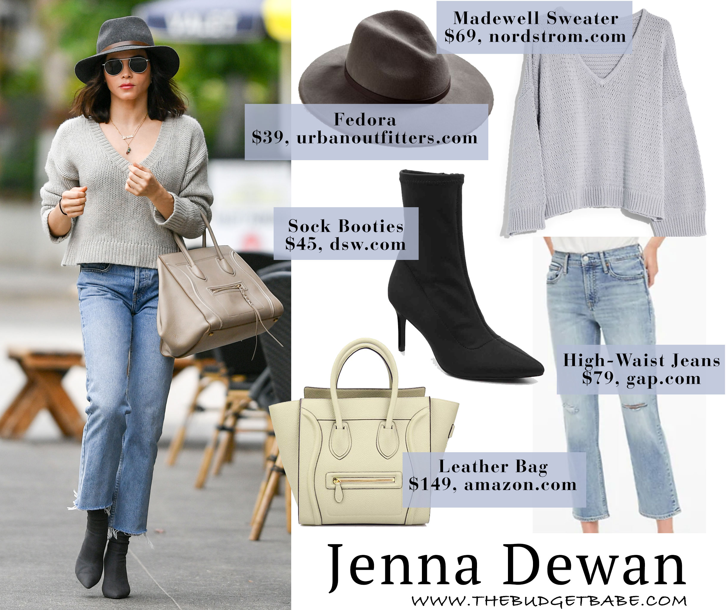 Jenna Dewan's v-neck sweater and Celine bag outfit idea for less