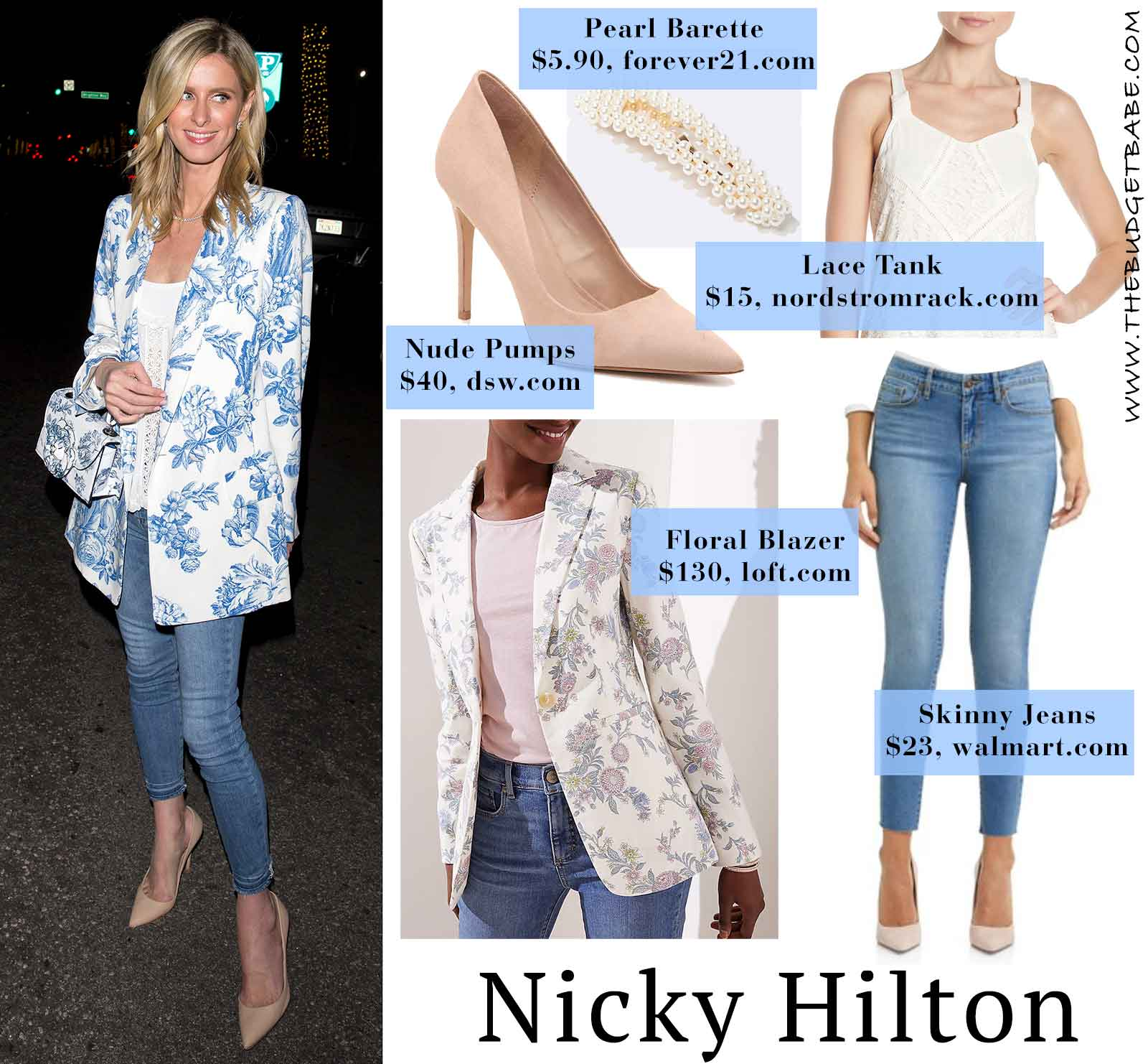 Nicky Hilton's floral blazer and nude pumps look for less