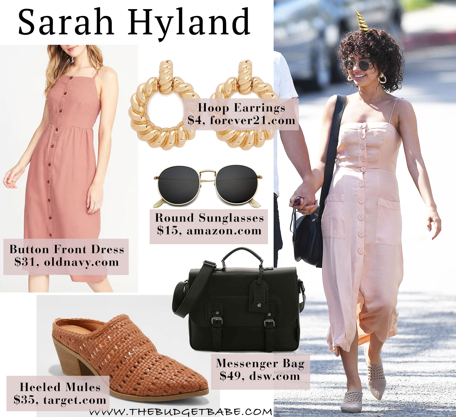 Sarah Hyland's cute pink dress look for less