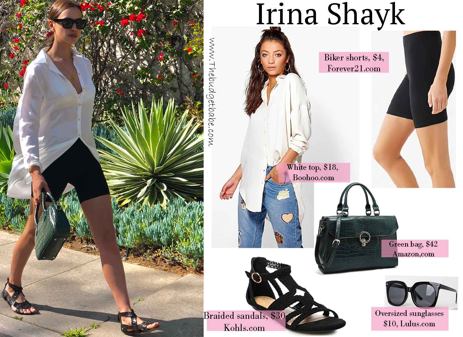 Irina Shayk Button Down Biker Shorts