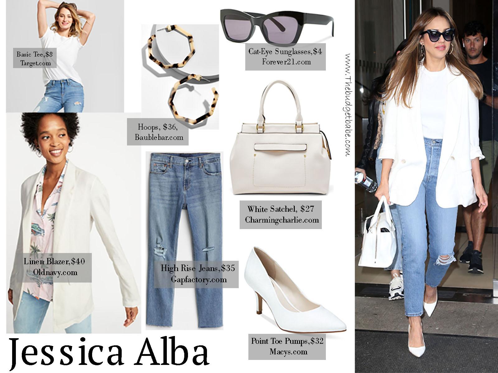 72c2c816de Jessica Alba White Blazer Denim Handbag Pumps Sunglasses