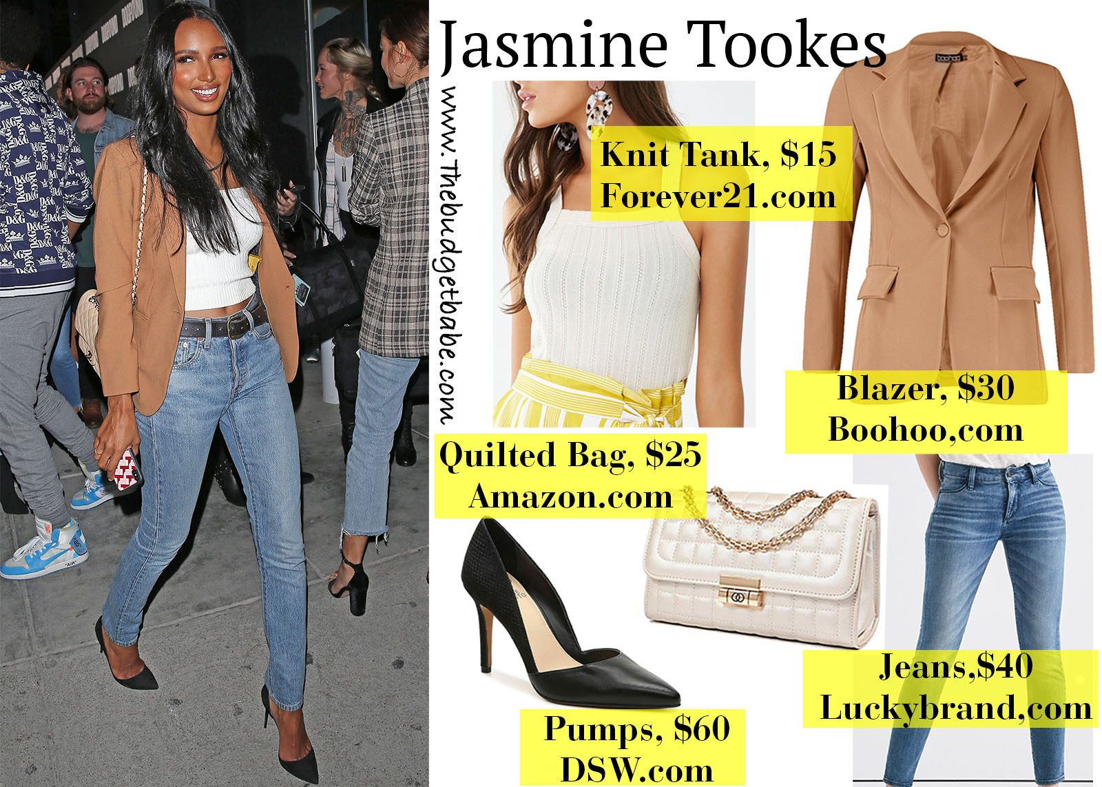 Jasmine Tookes Camel Blazer and Jeans Look for Less