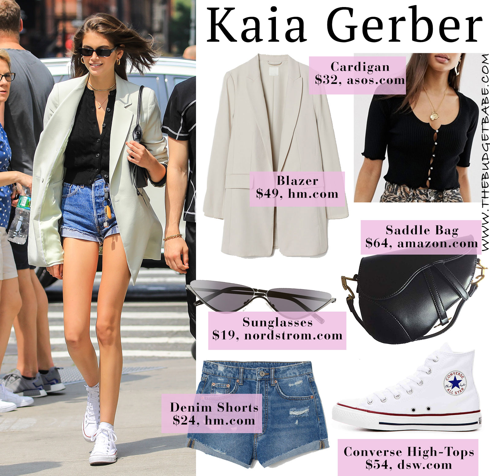 Kaia Gerber inspired streetstyle for summer with tan blazer, Converse and cut-offs