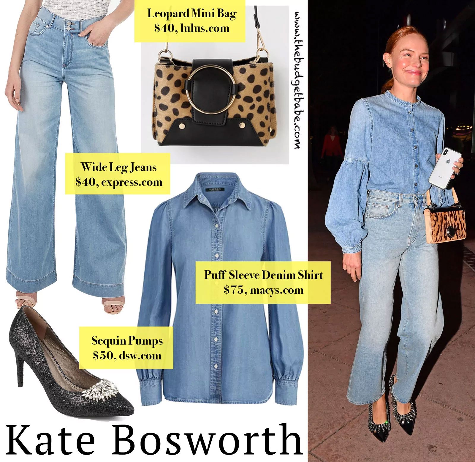 Kate Bosworth Denim and Leopard Look for Less
