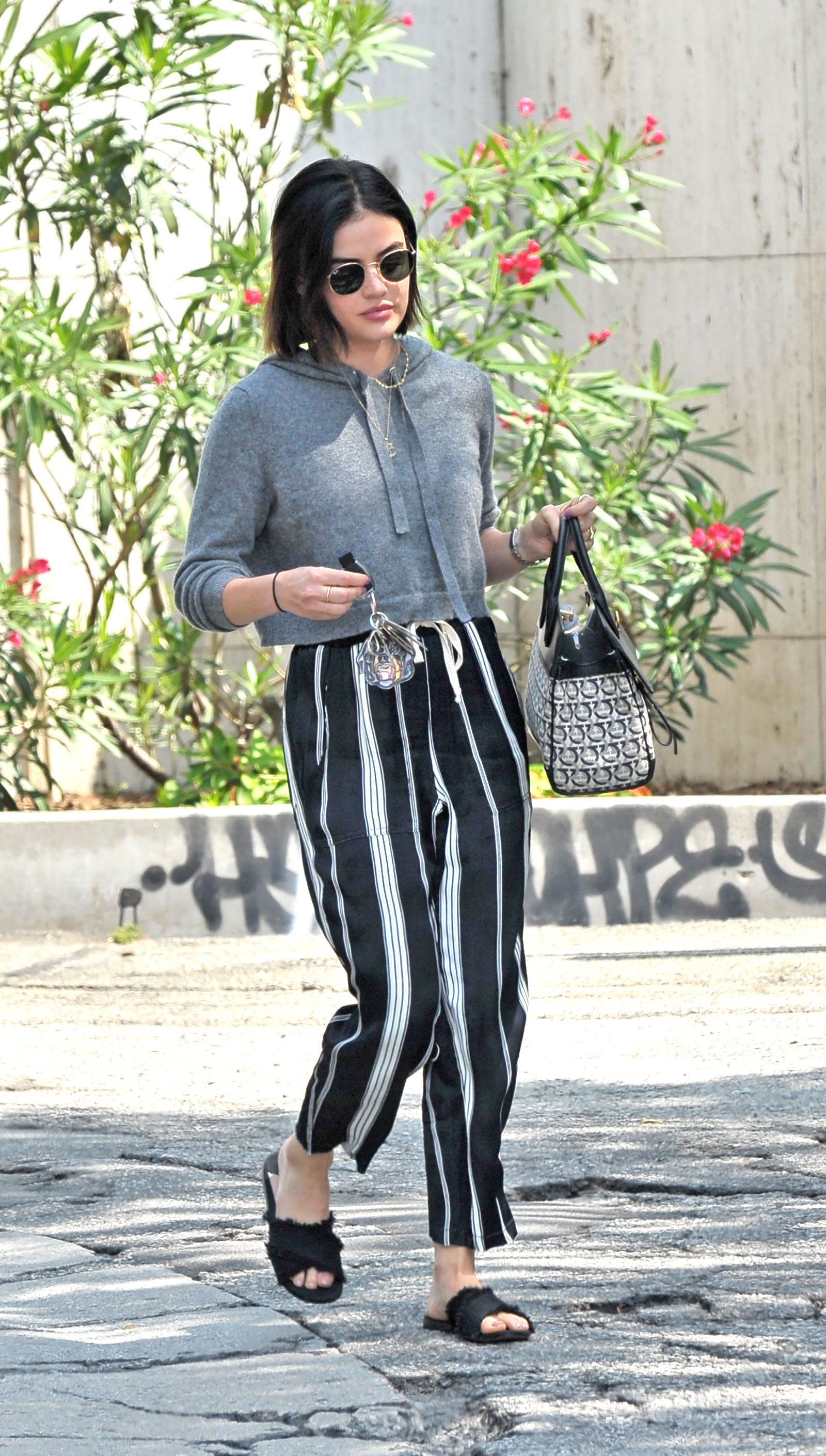Lucy Hale Crop Sweater Striped Linen Pants